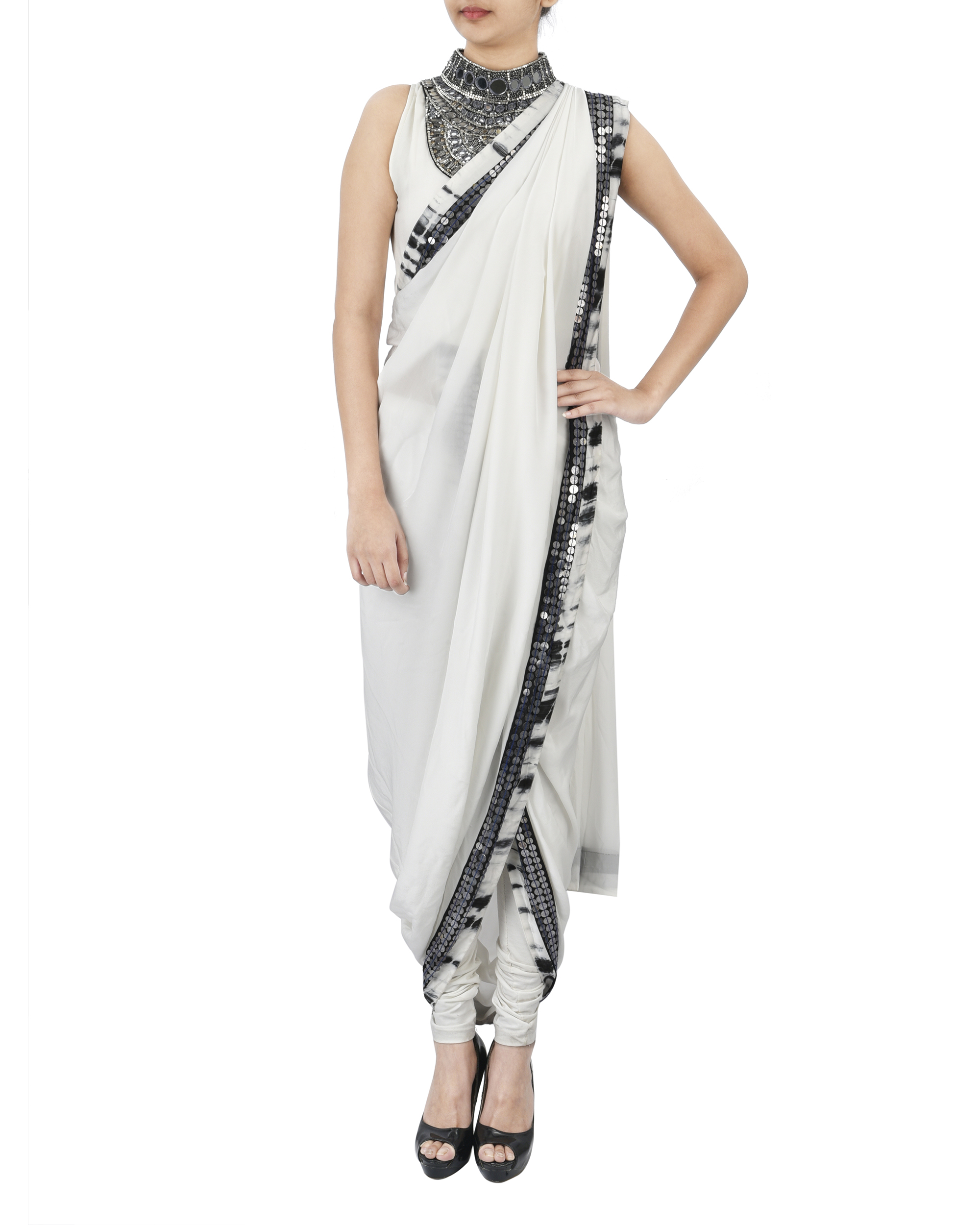 White pre draped saree