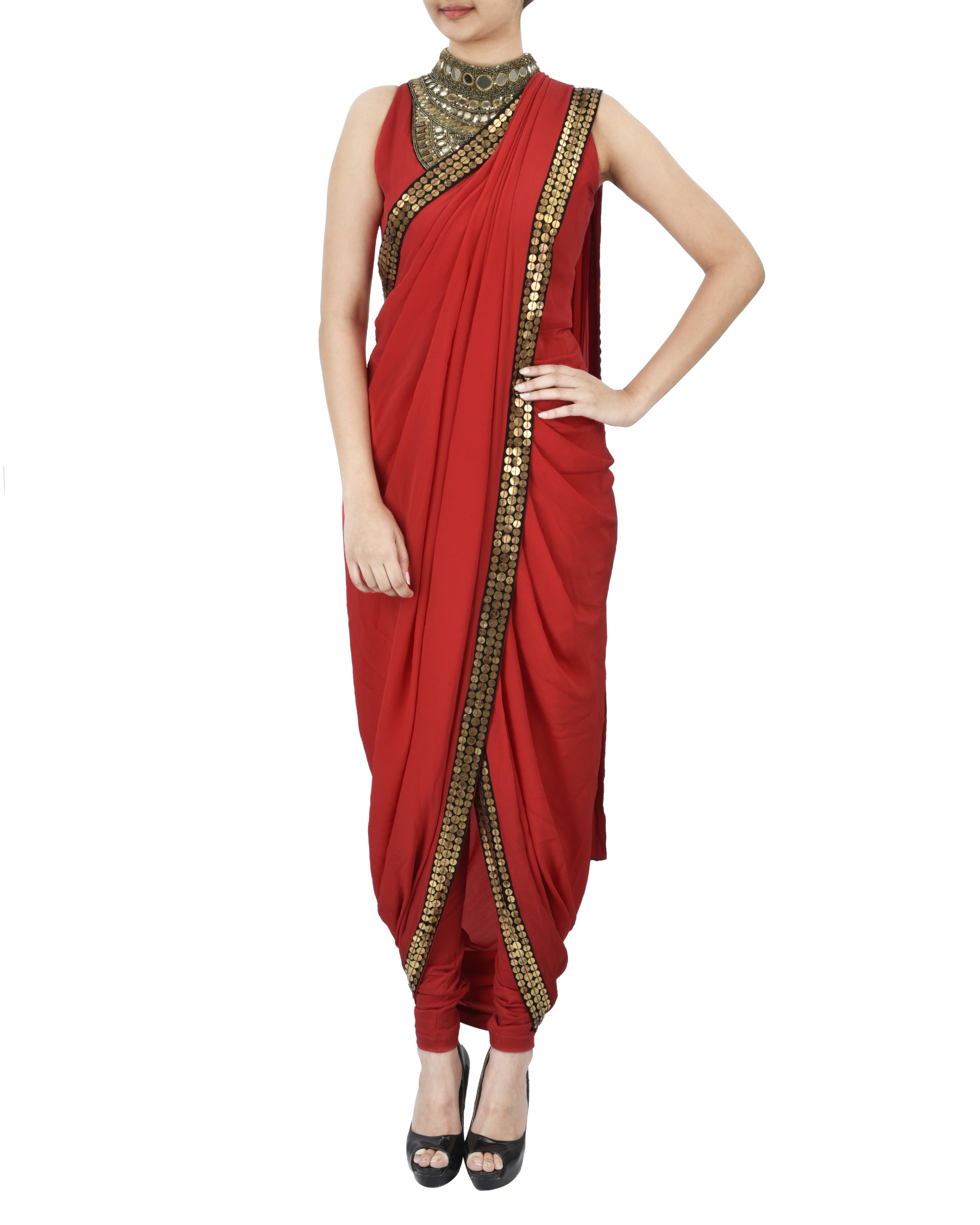 Red pre draped saree
