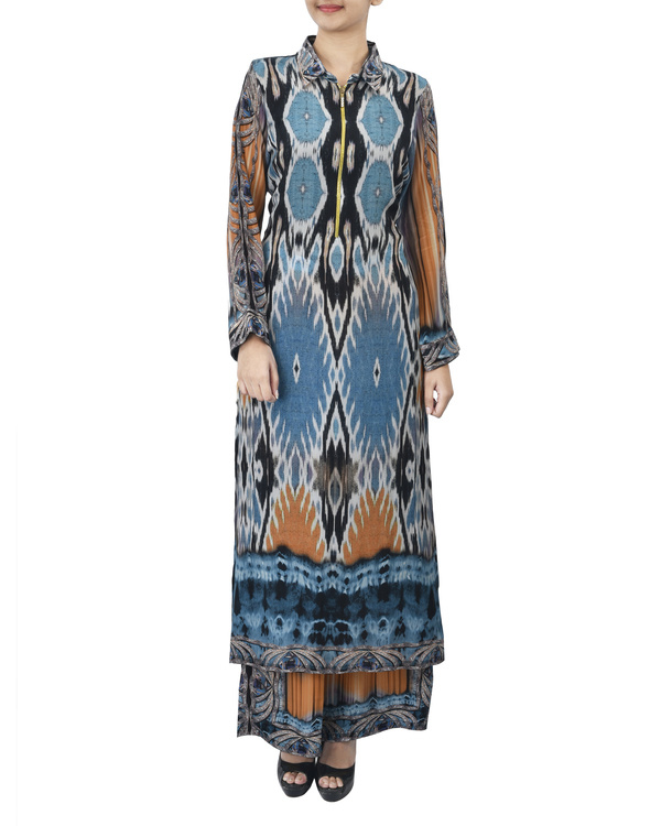 Blue and black kurta set with palazzo