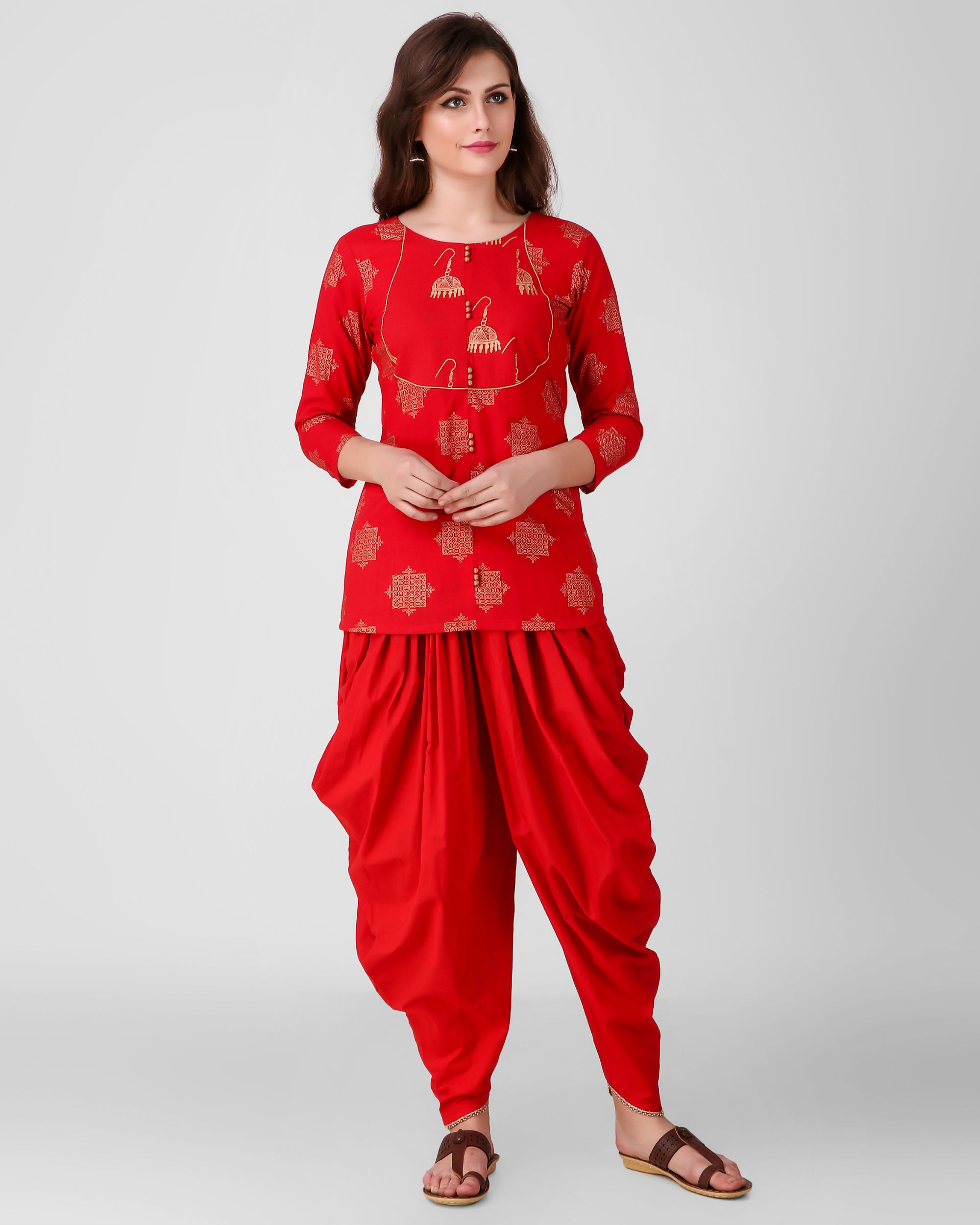 Red golden print dhoti set