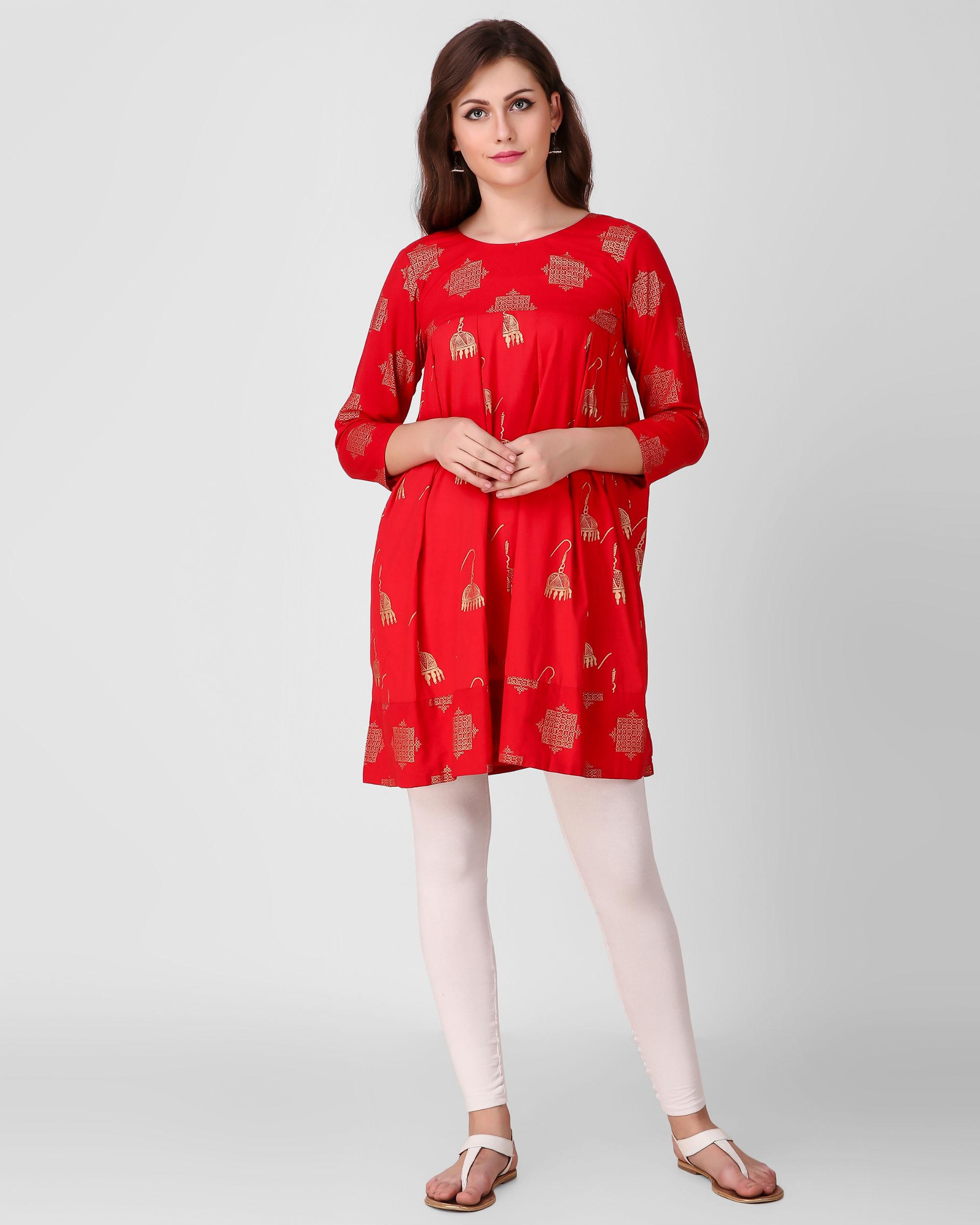 Red dual print tunic