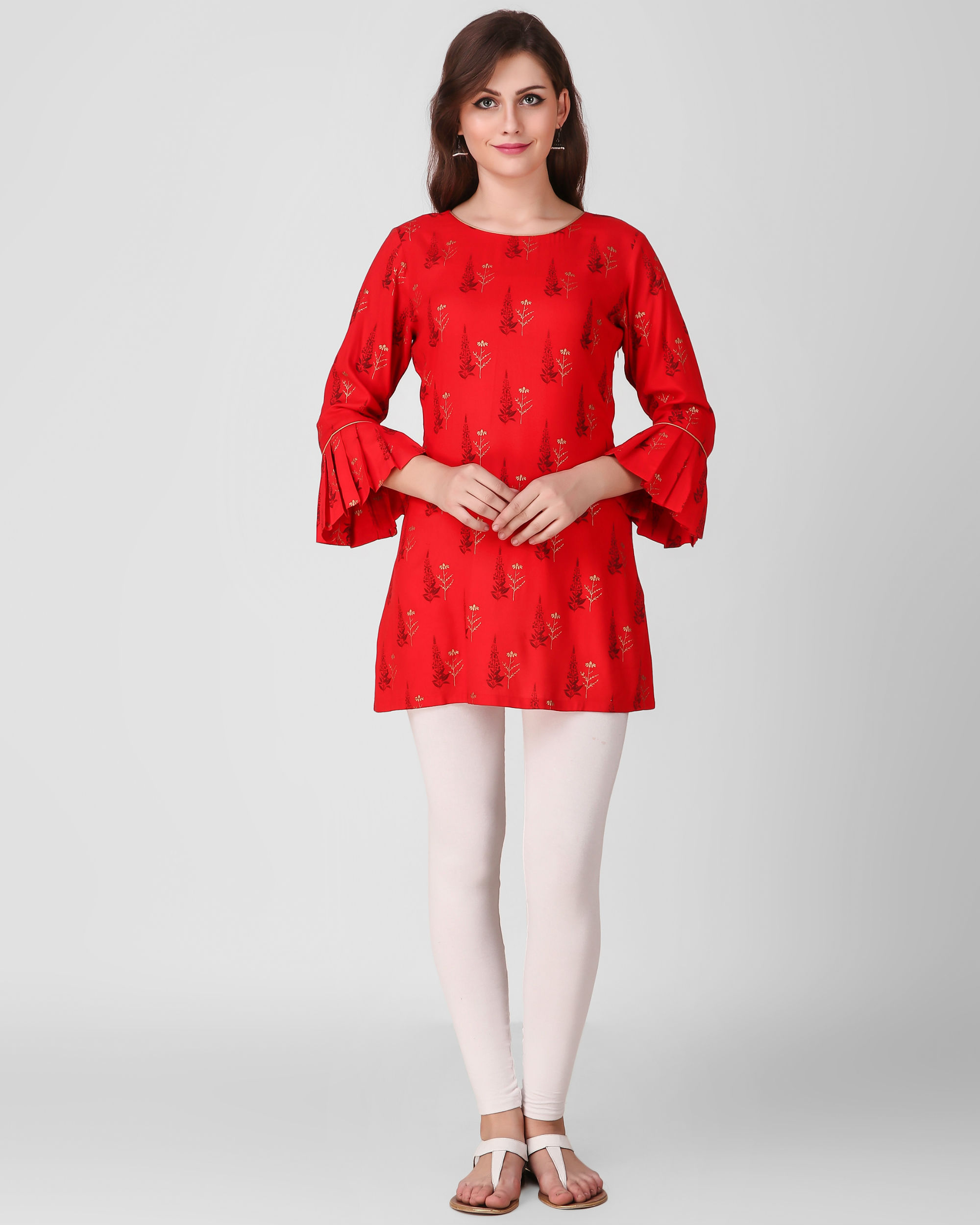 Red frill sleeve tunics