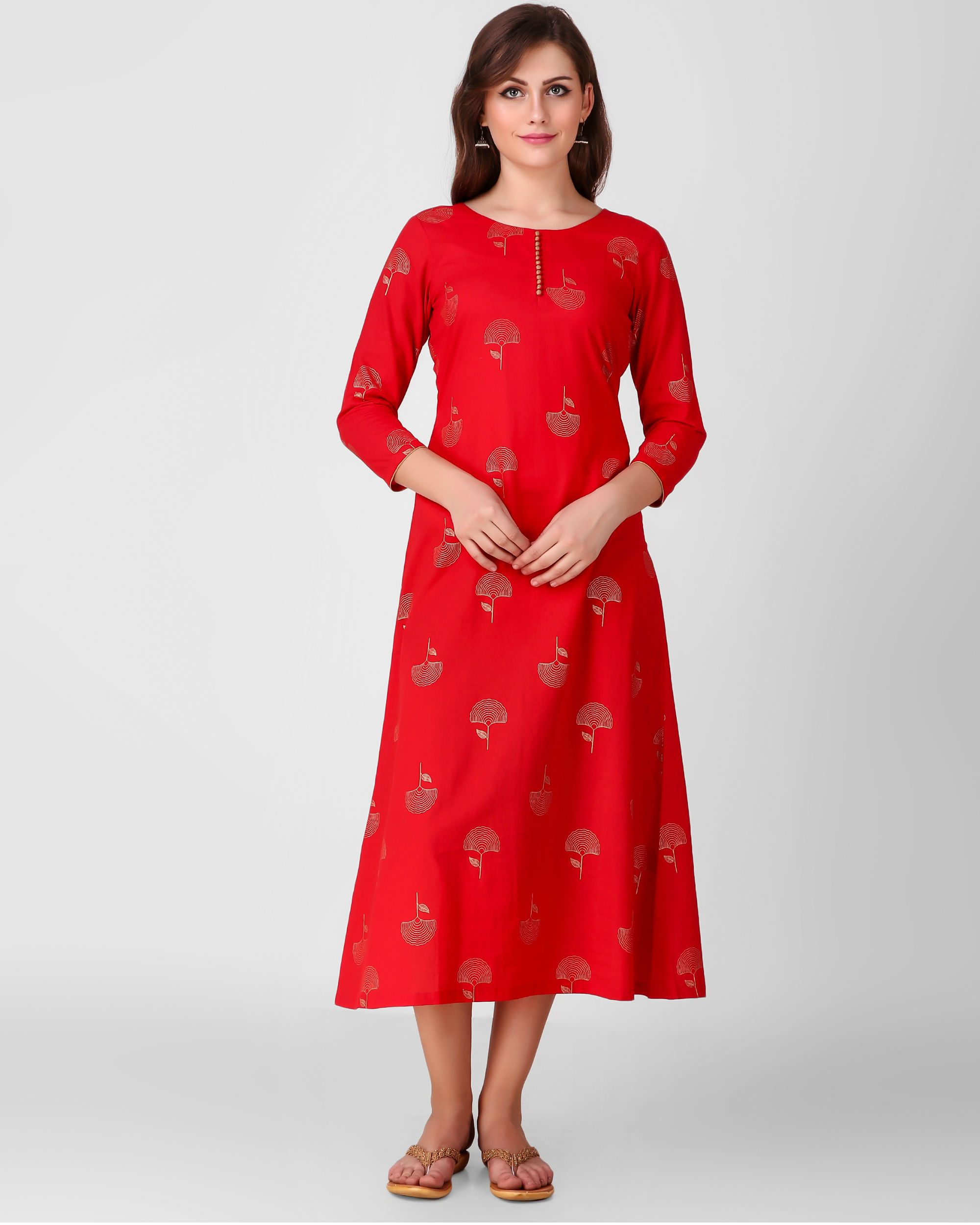 Red golden daffodil print dress
