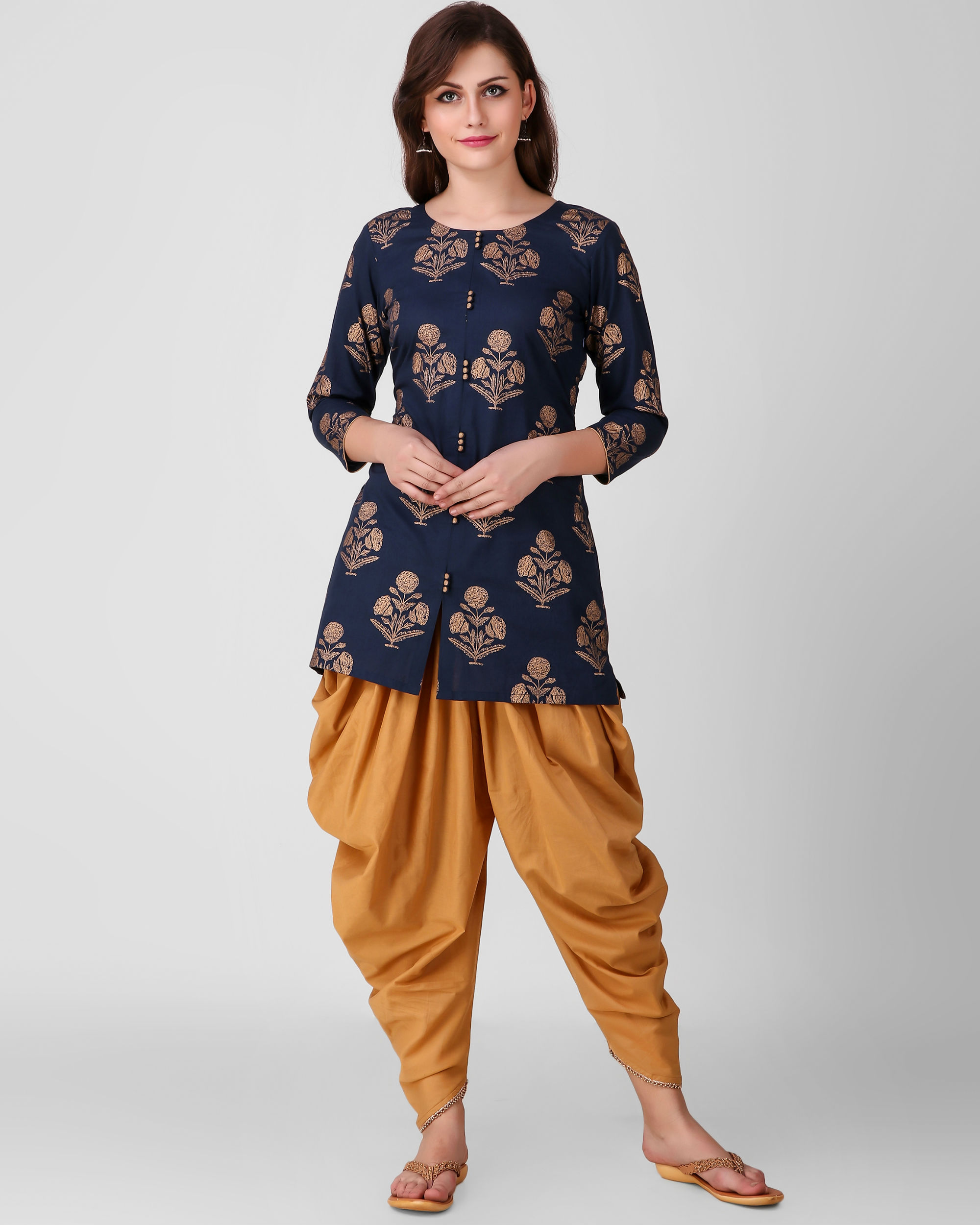 Blue gold print dhoti set