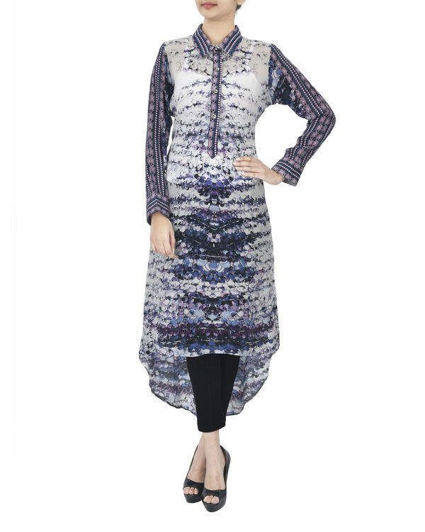 Ivory blue high low kurta