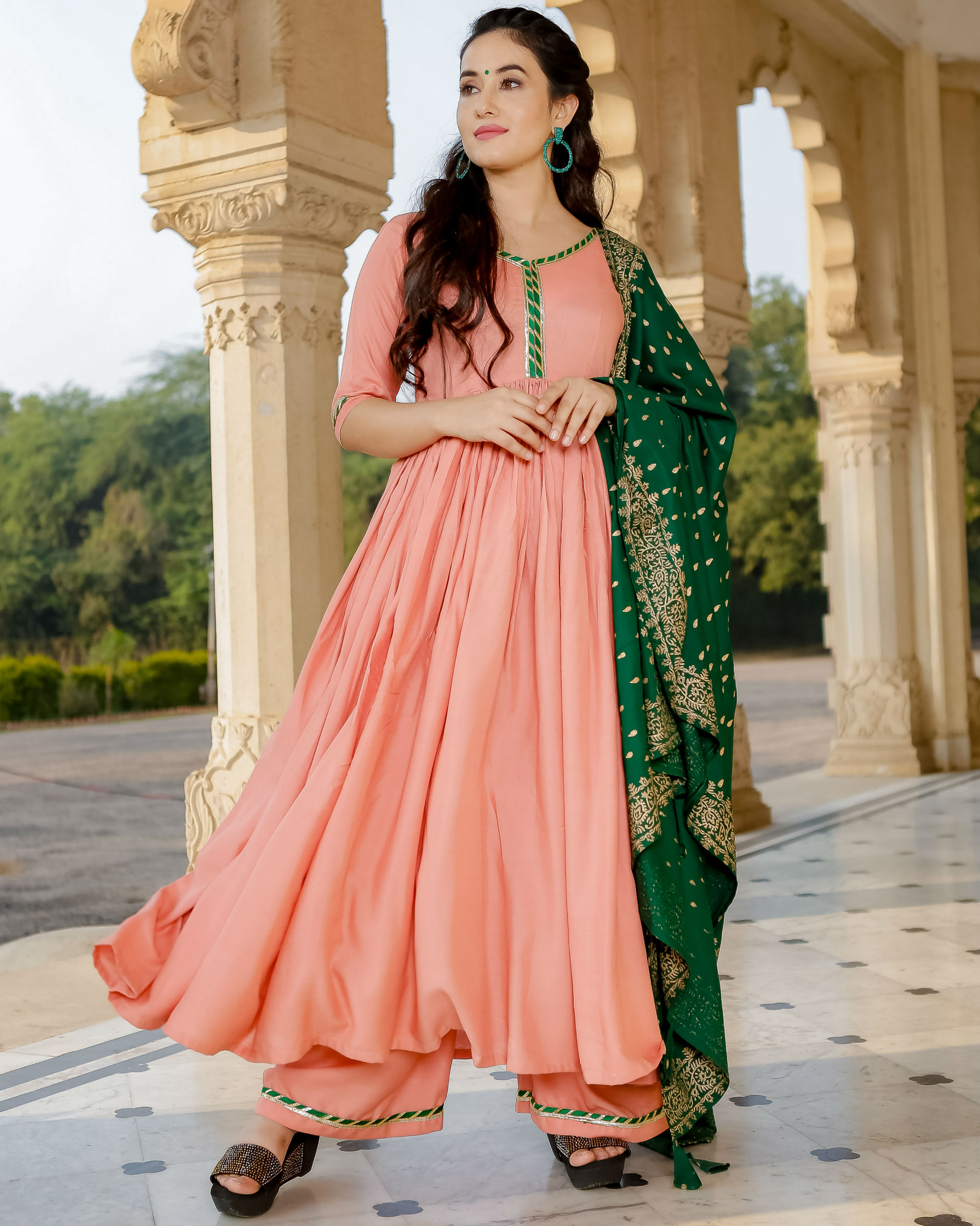 Peach and green anarkali set