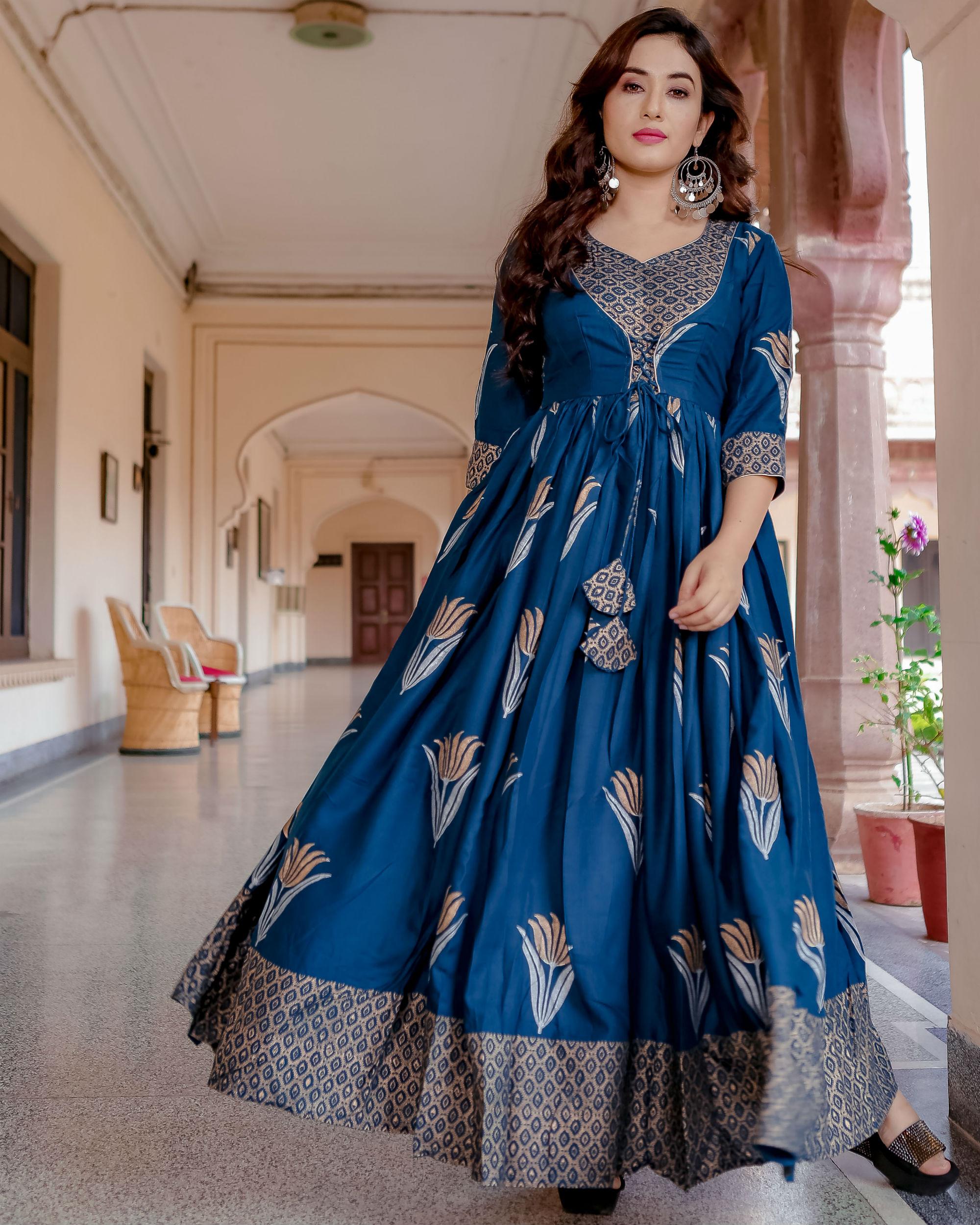 Blue lotus hand block print dress