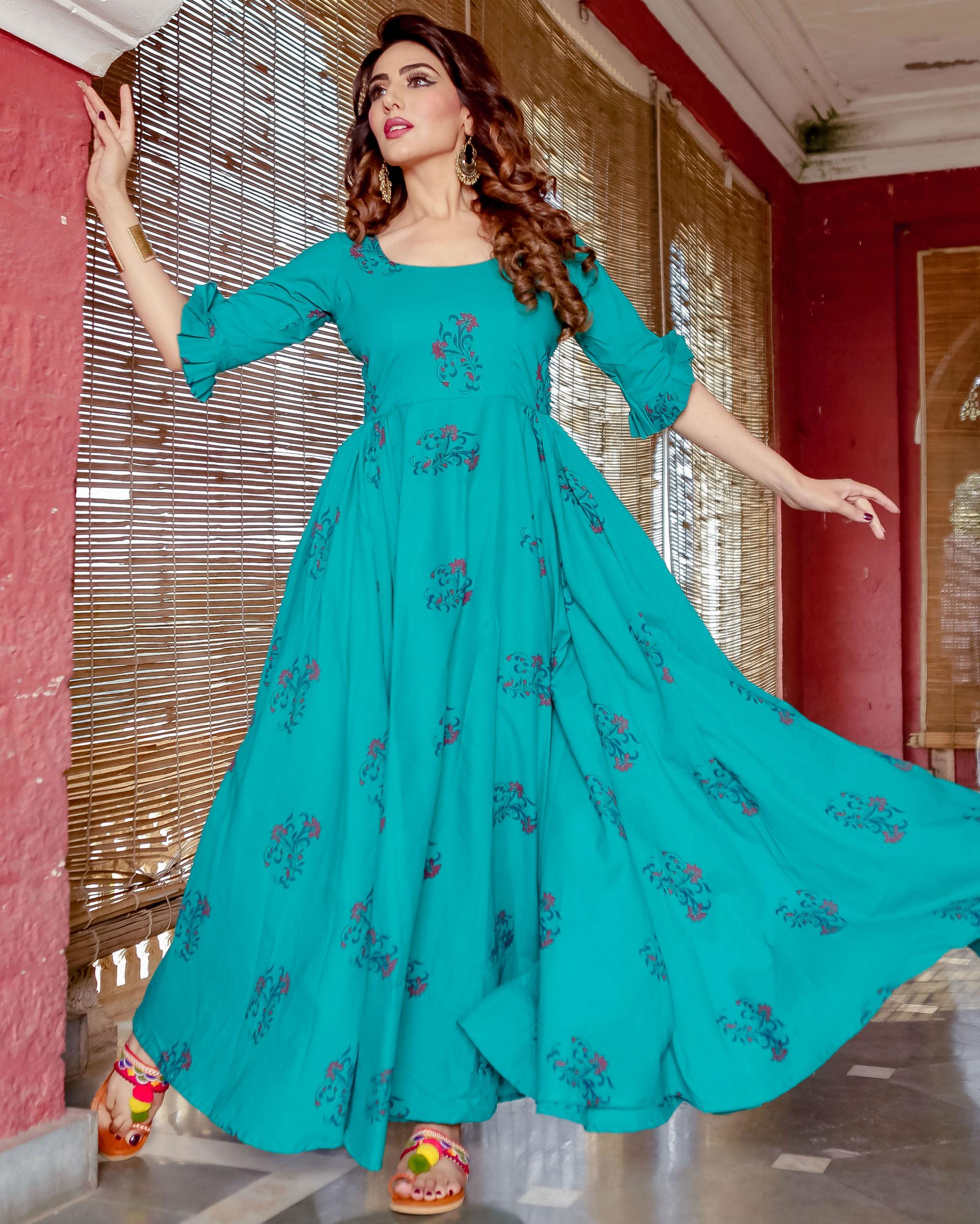 Sea blue hand printed dress
