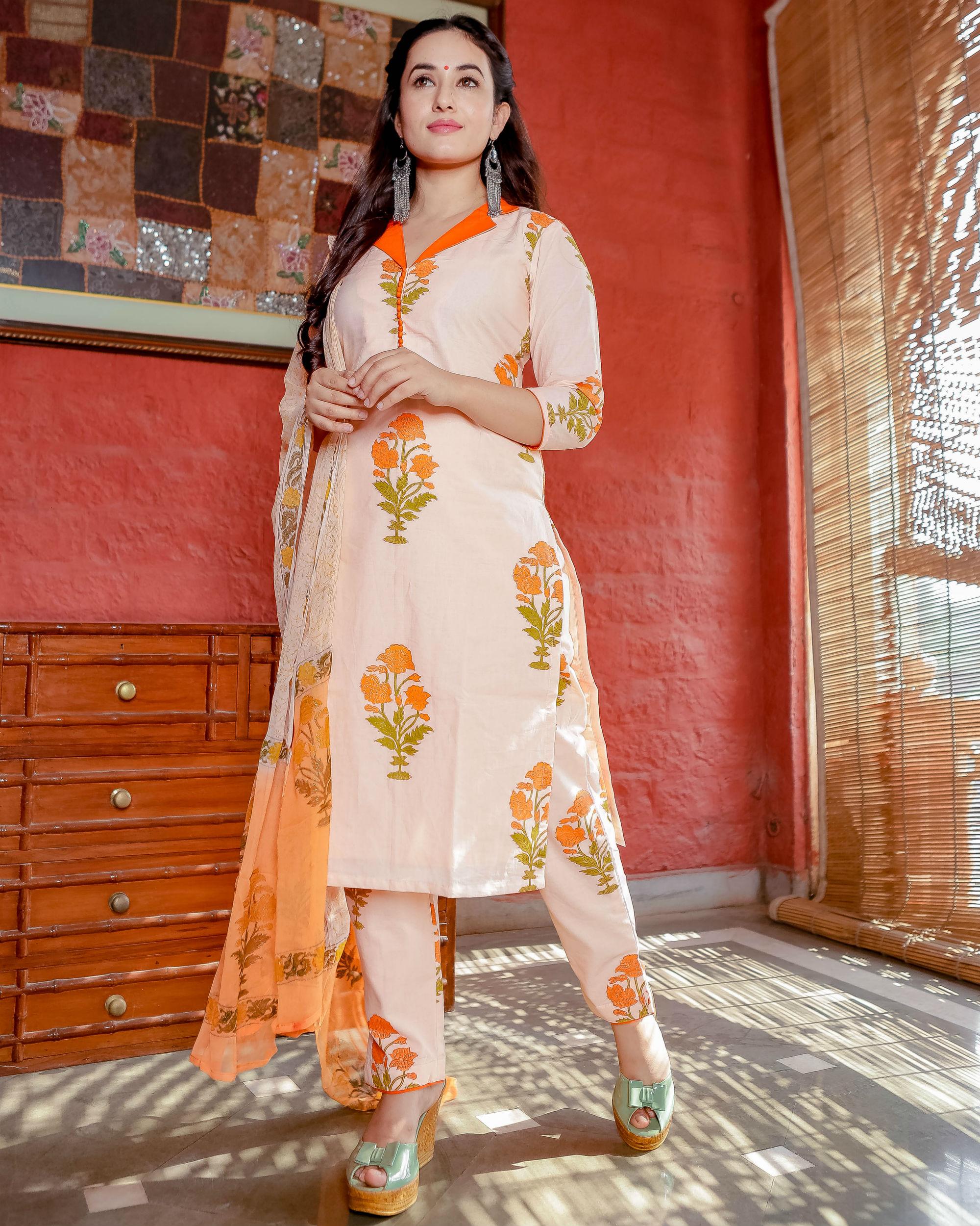 Orange and peach floral kurta set