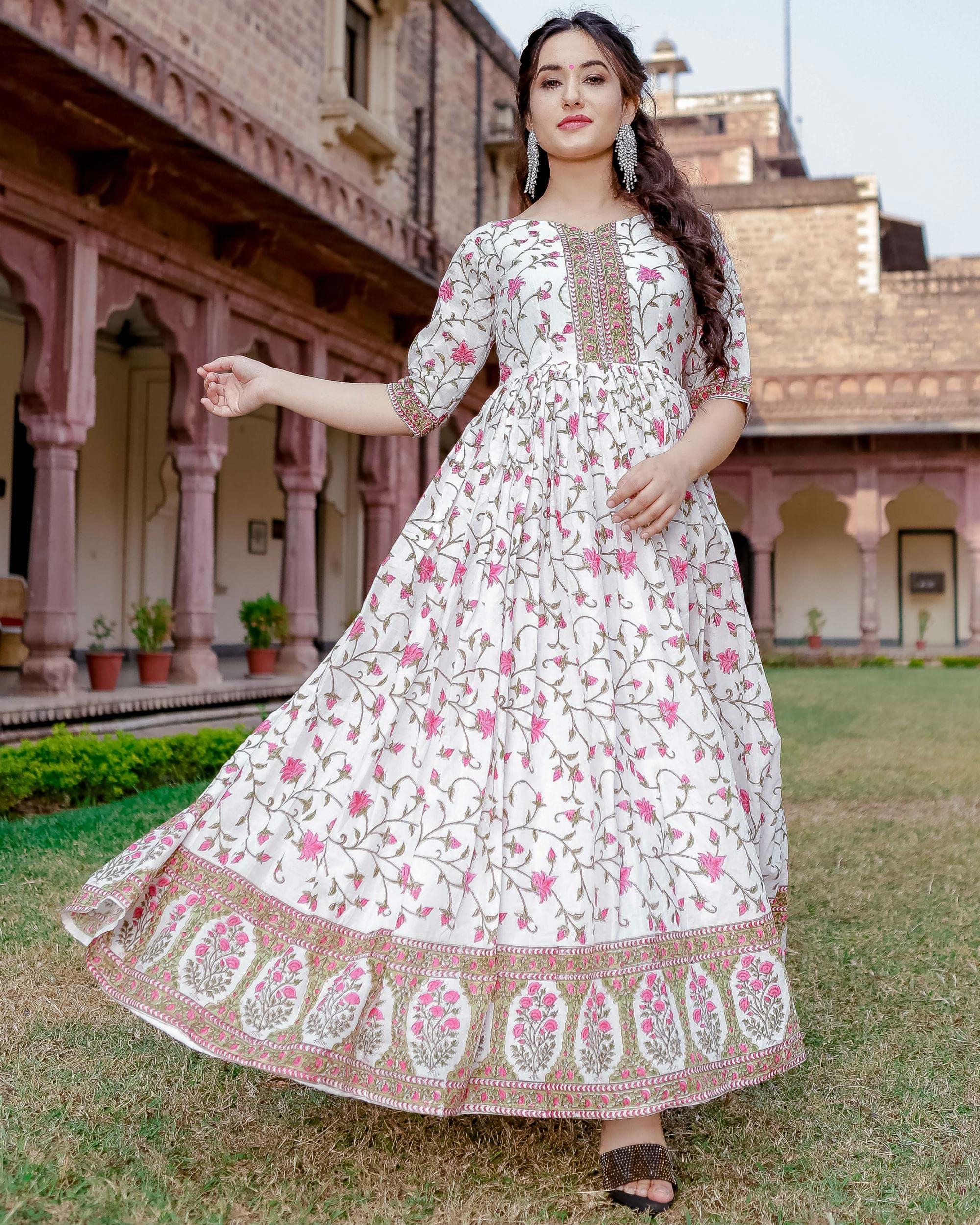 White garden handblock dress