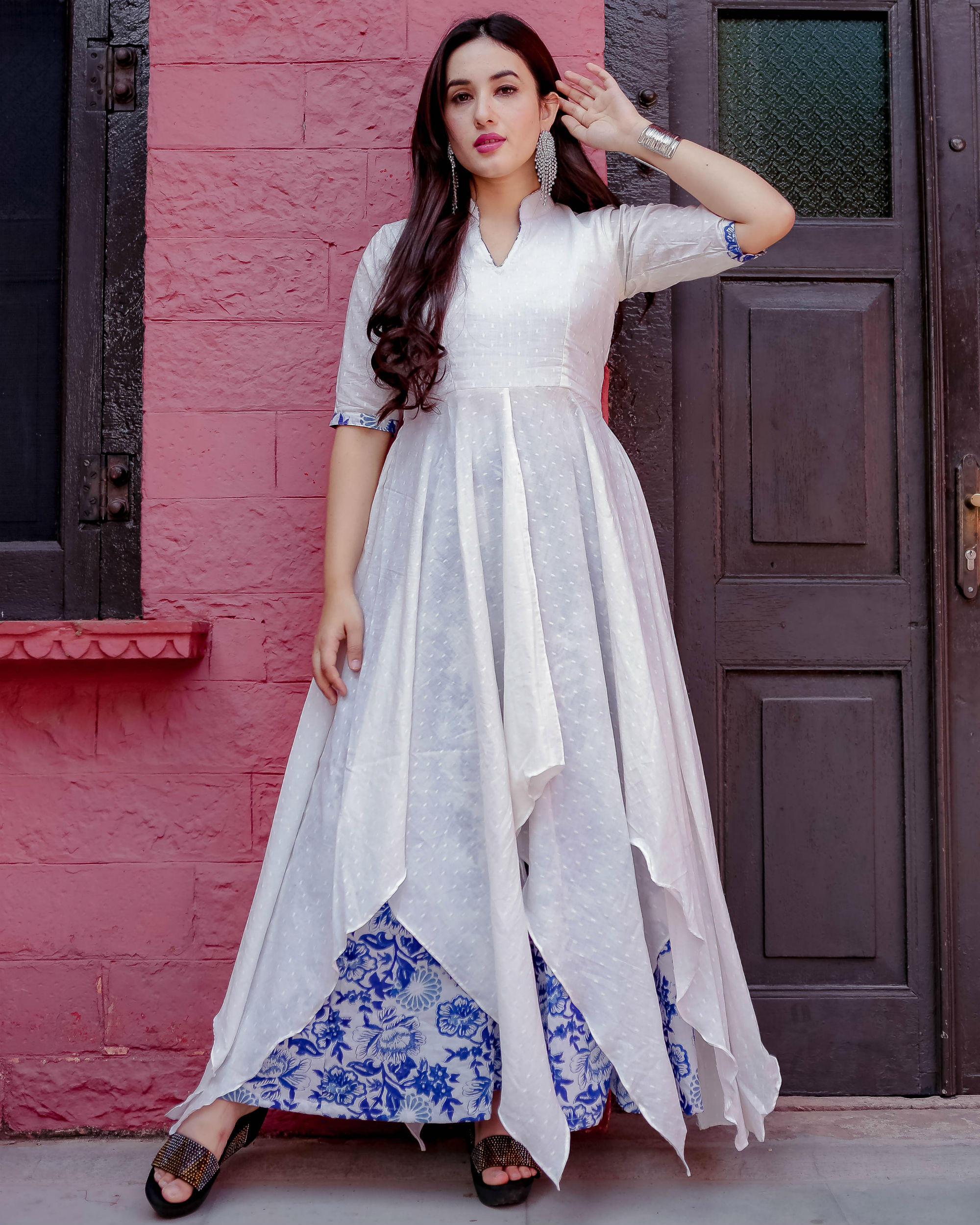 White and blue uneven kurta set