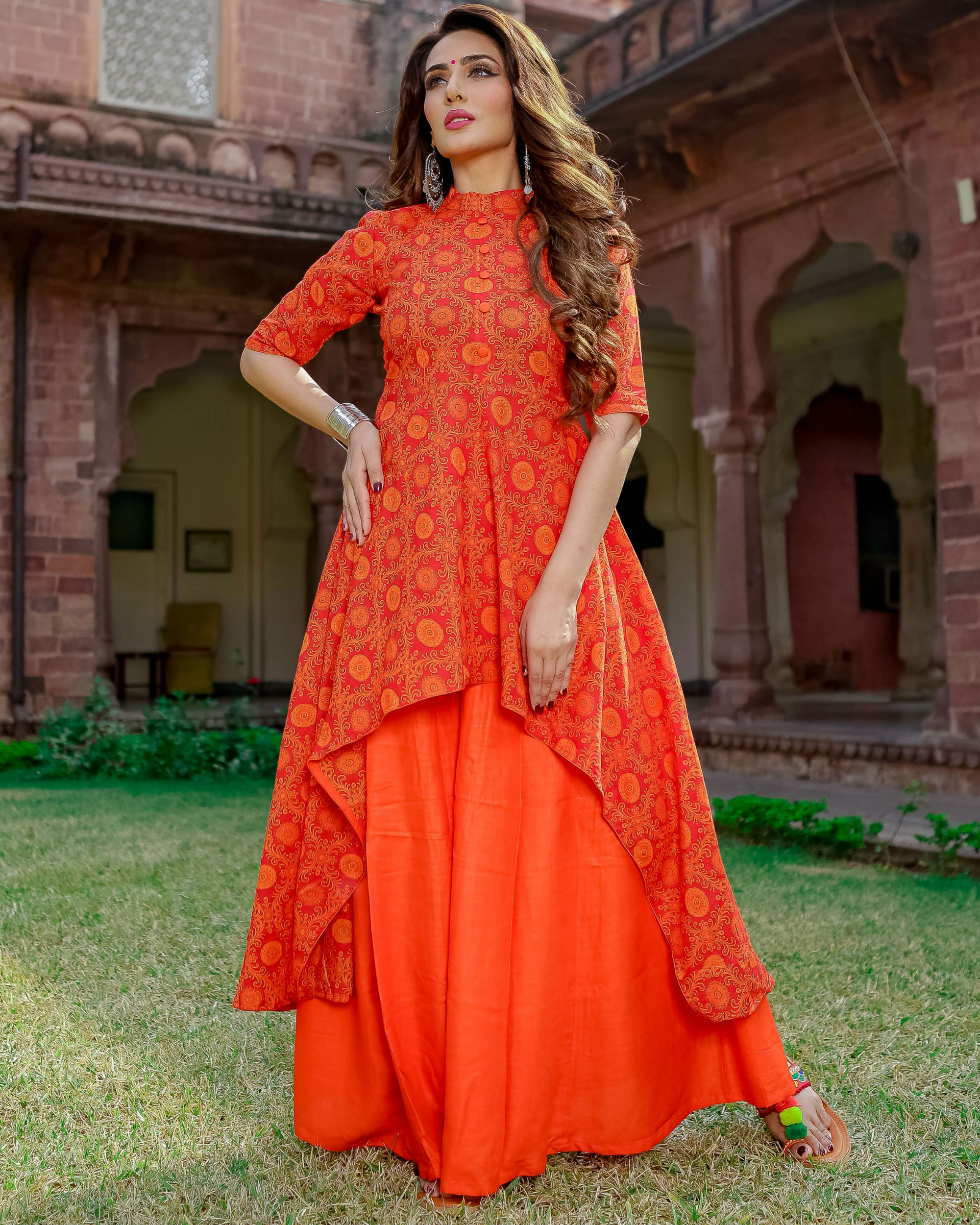 Orange high-low kurta set