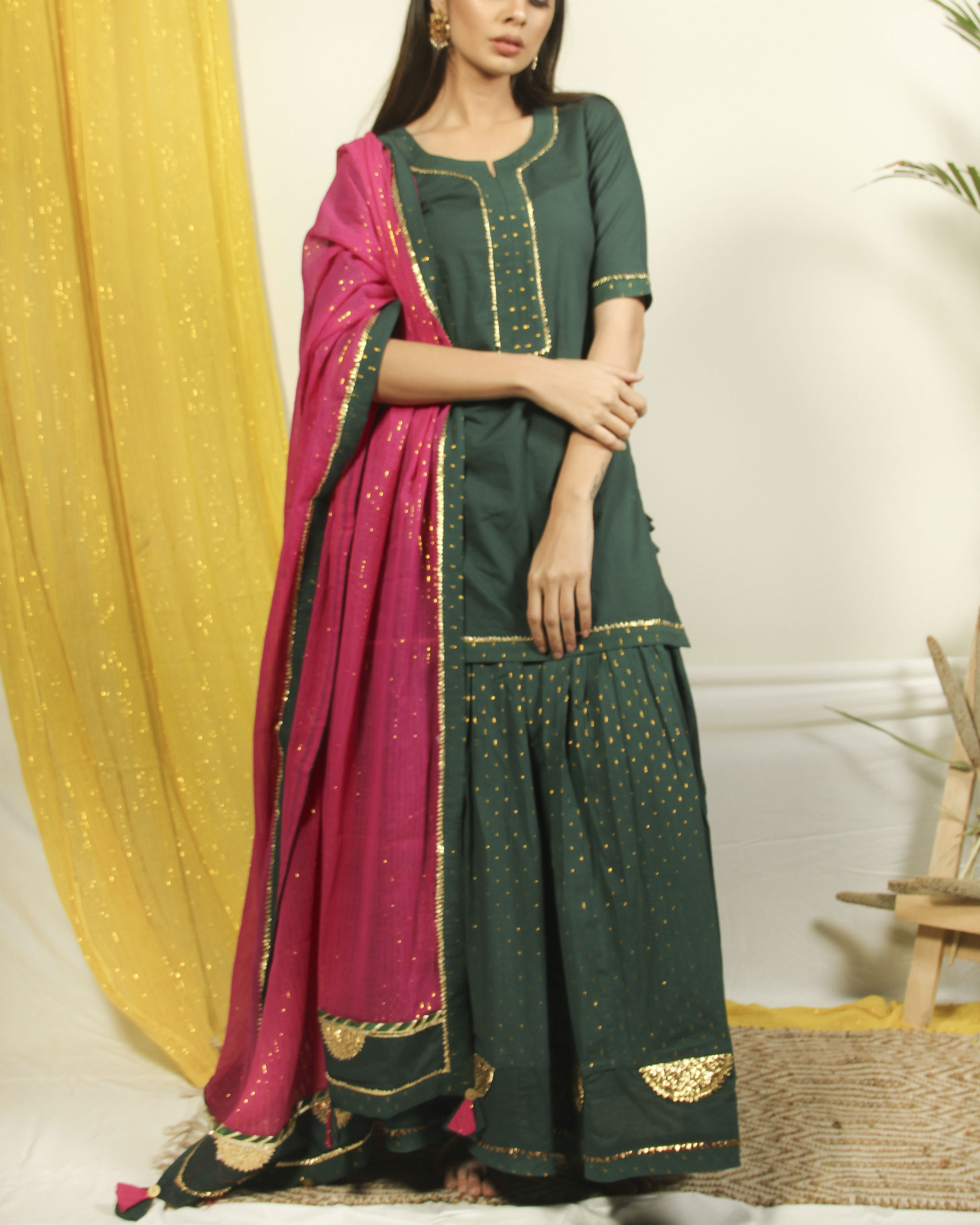 Pine green golden kurta lehenga set