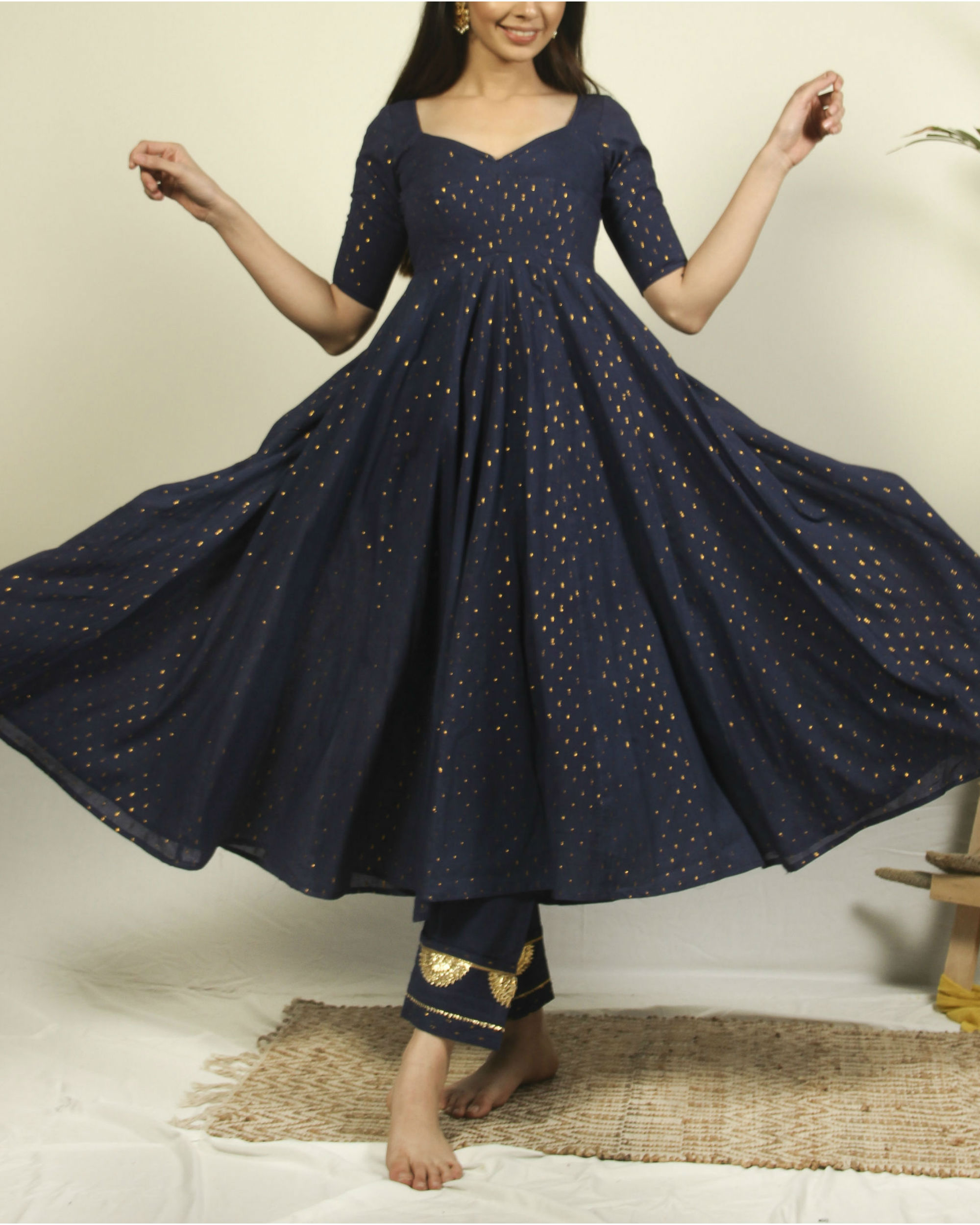 Denim blue flared kurta flower pants