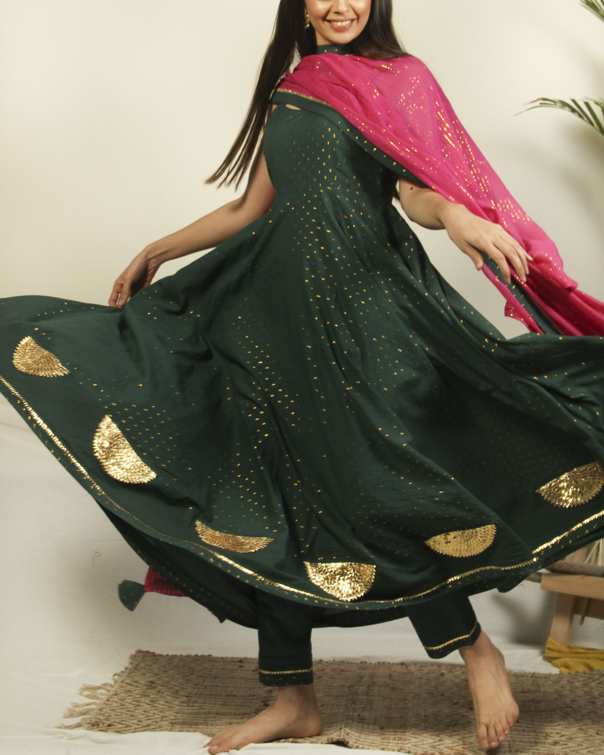 Pine green gota set with dupatta