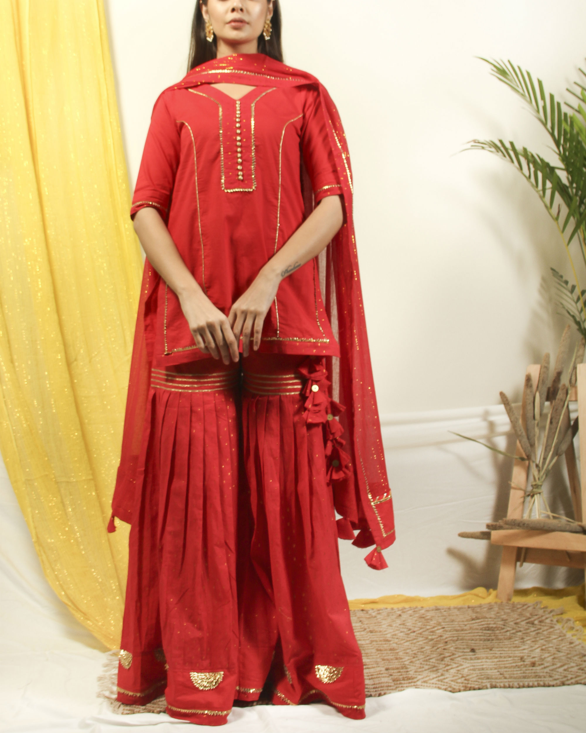 Brick red gharara gota kurta