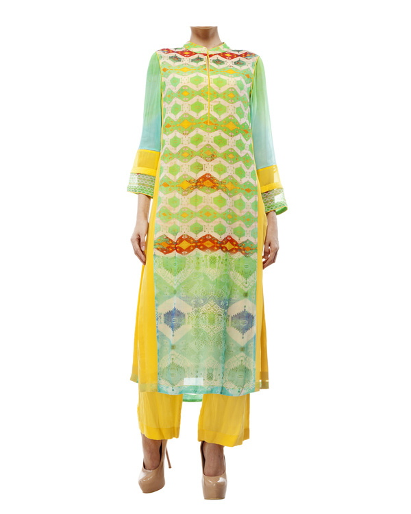 Green & yellow kantha georgette tunic