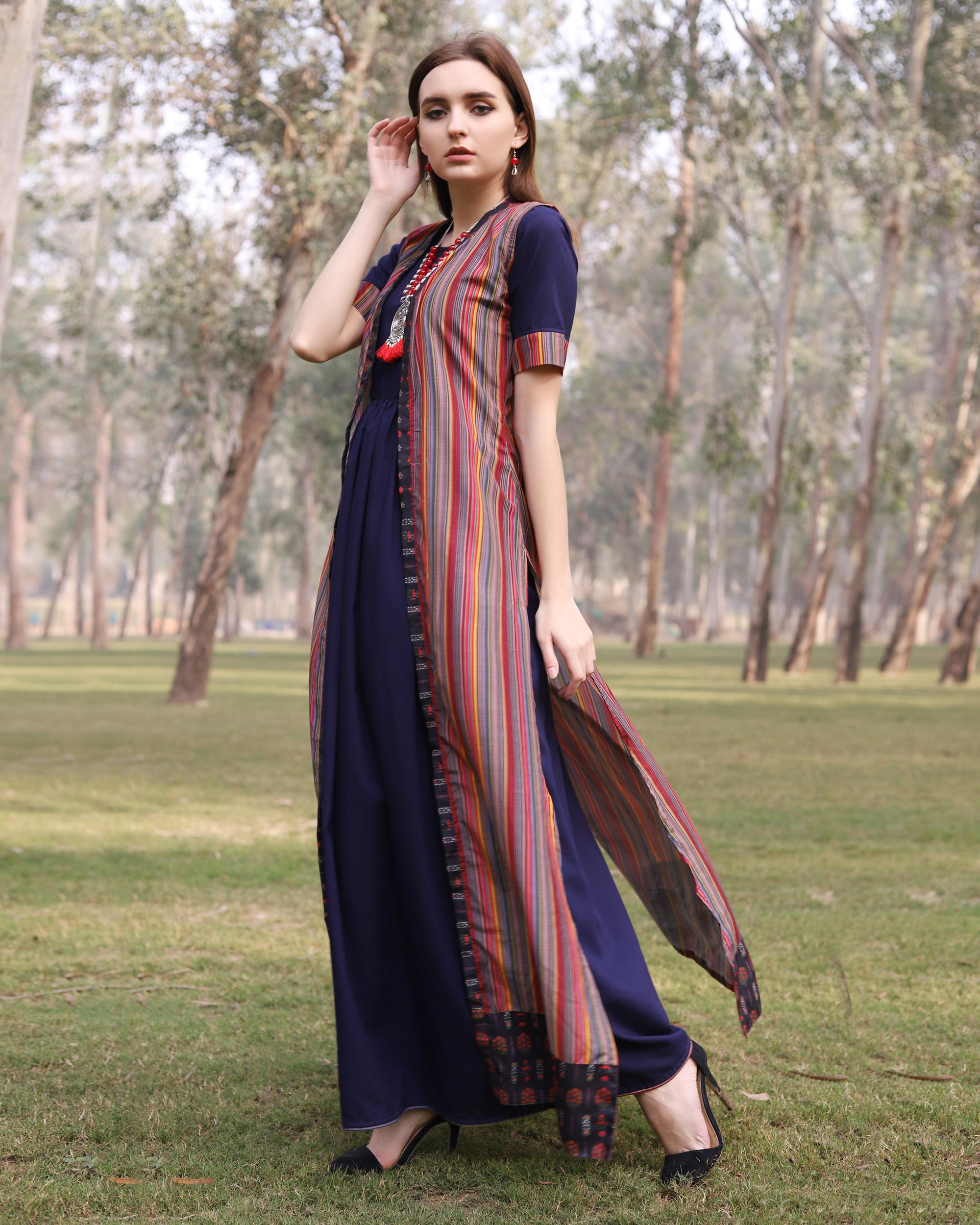 Multi color stripe flare jacket dress