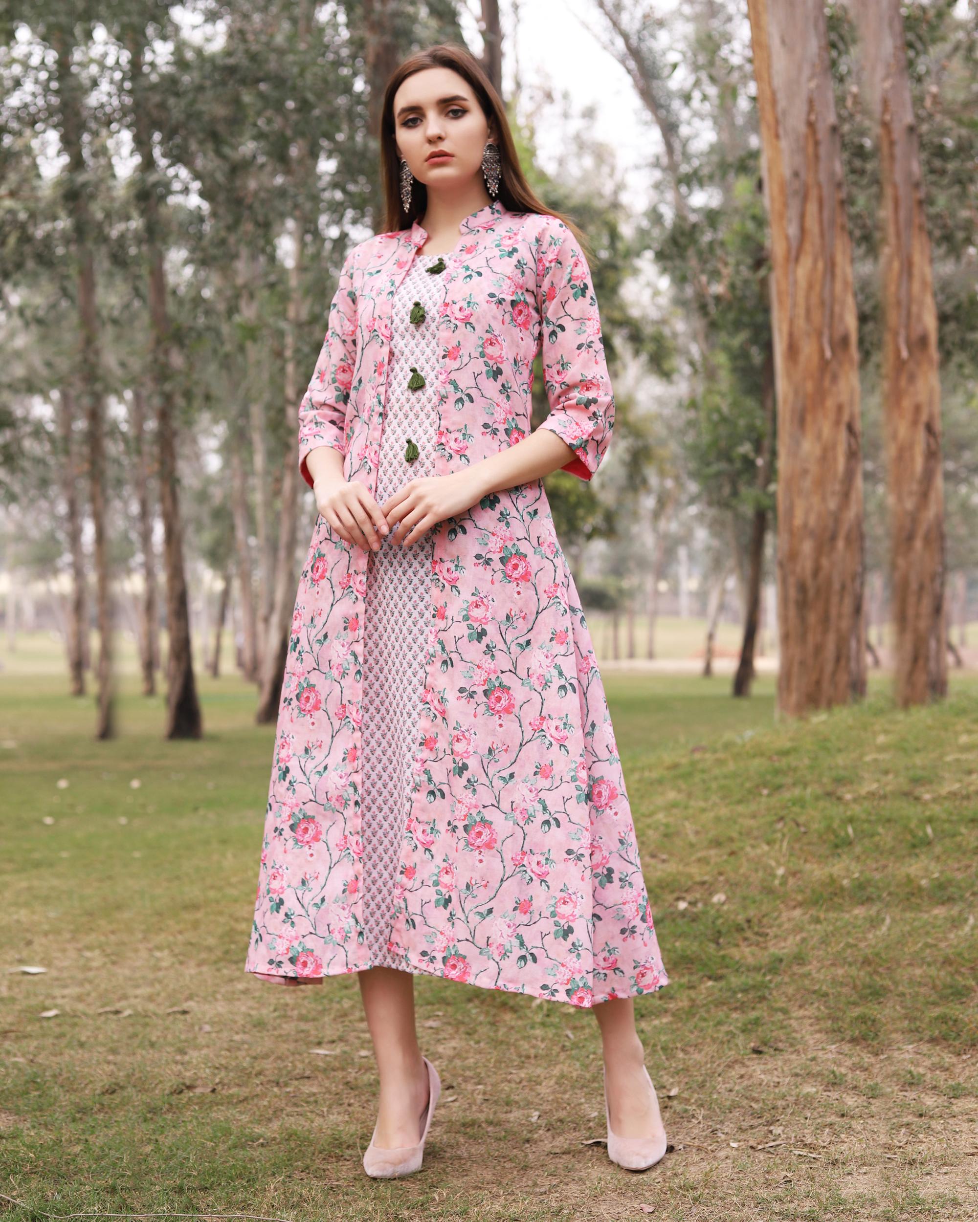 Pink floral printed jacket dress