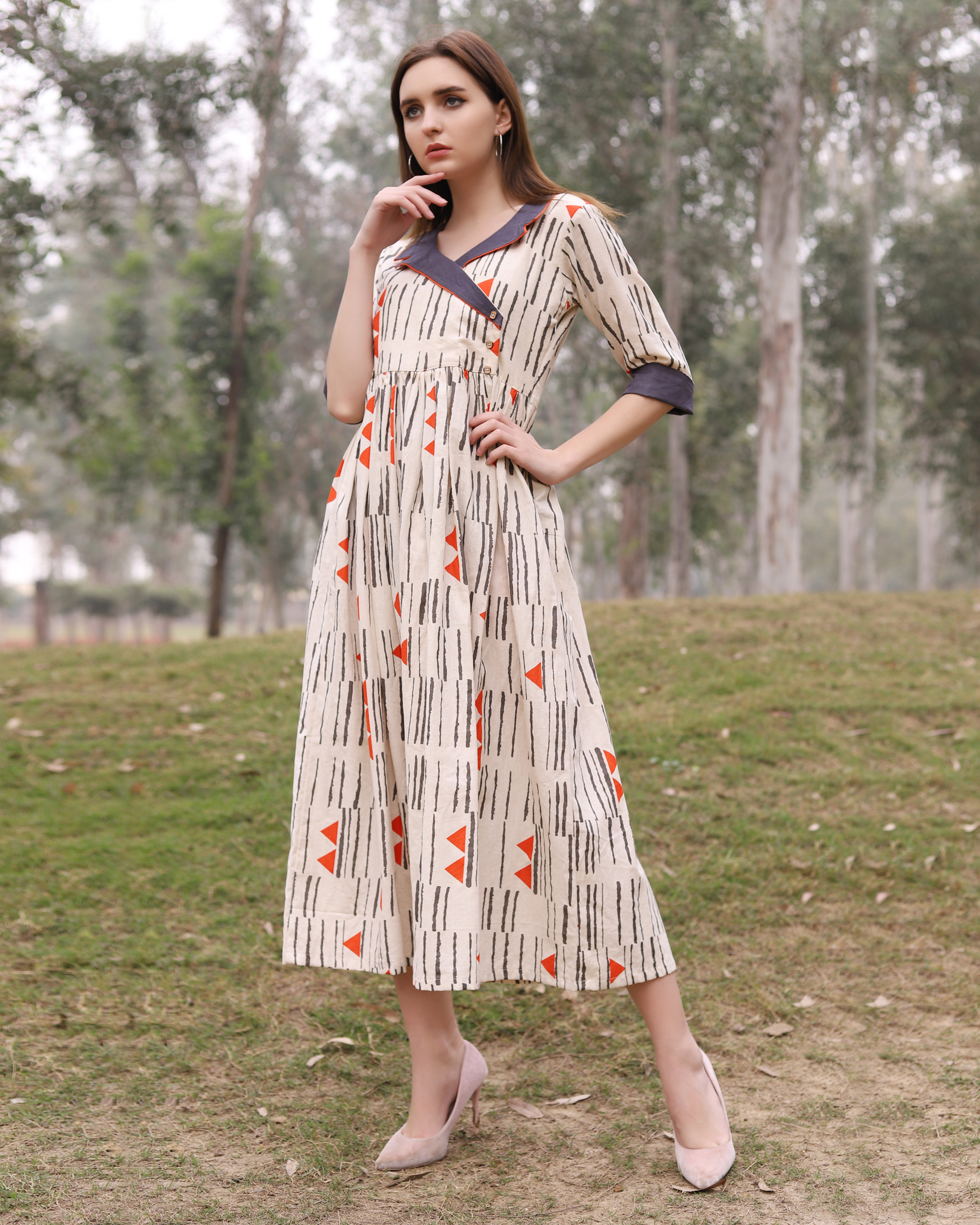 Orange and off white triangle dress