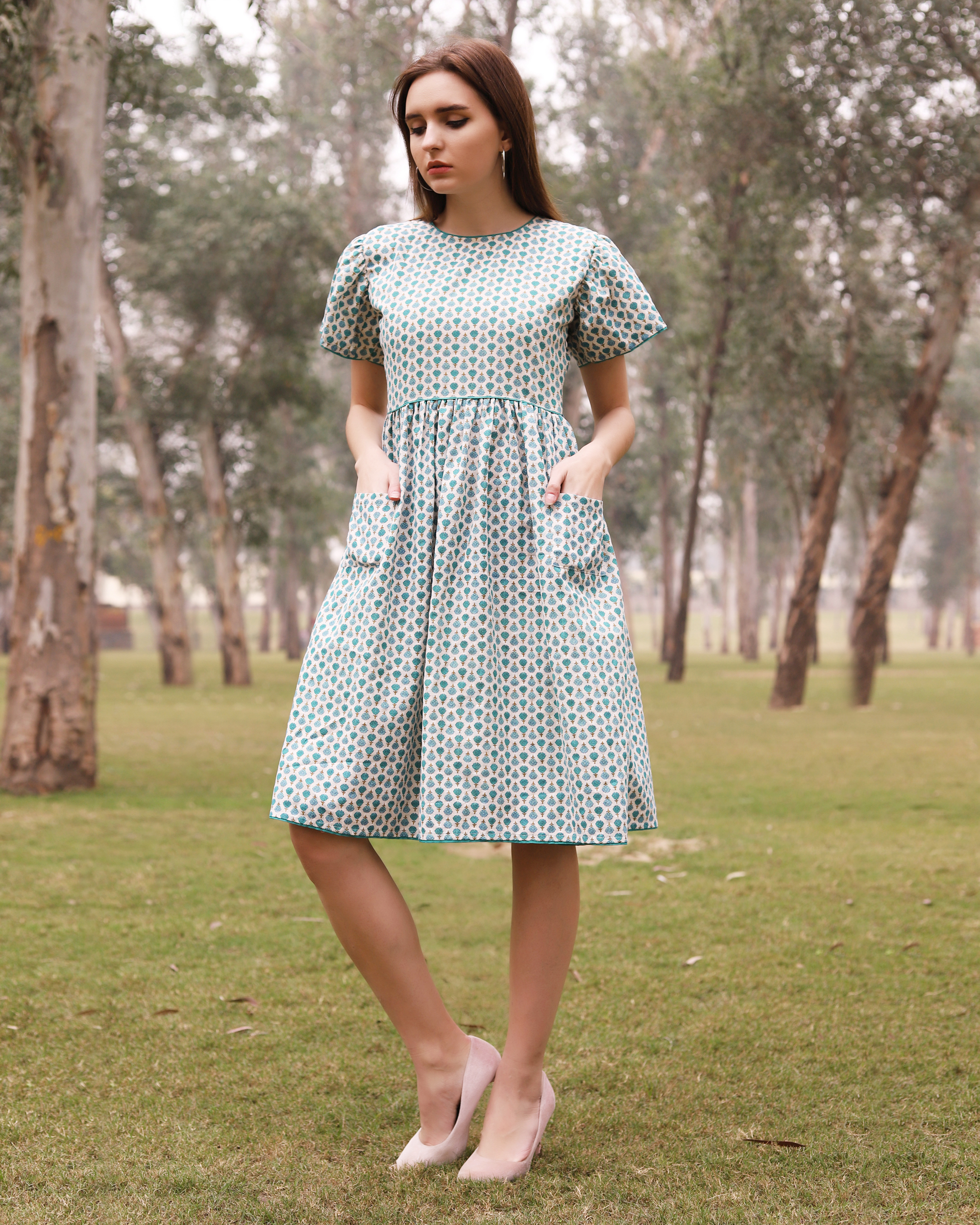 Green and blue small flower boota dress