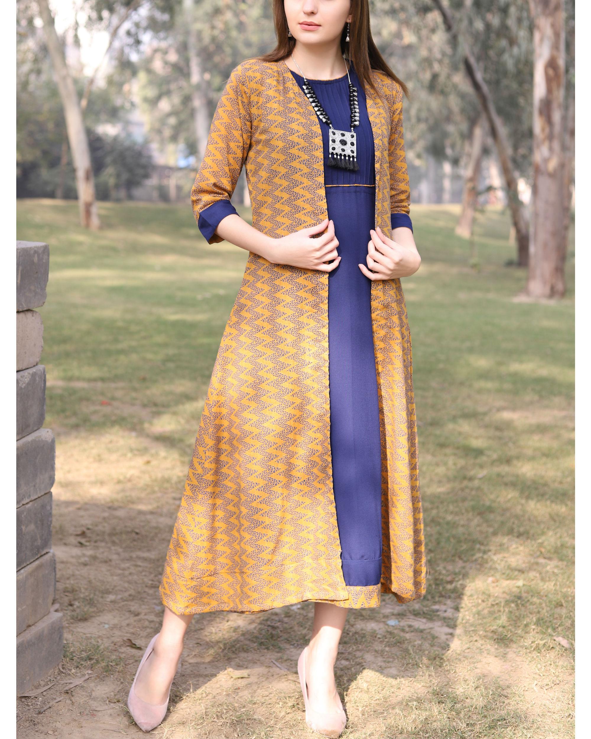 Blue and mustard printed jacket dress