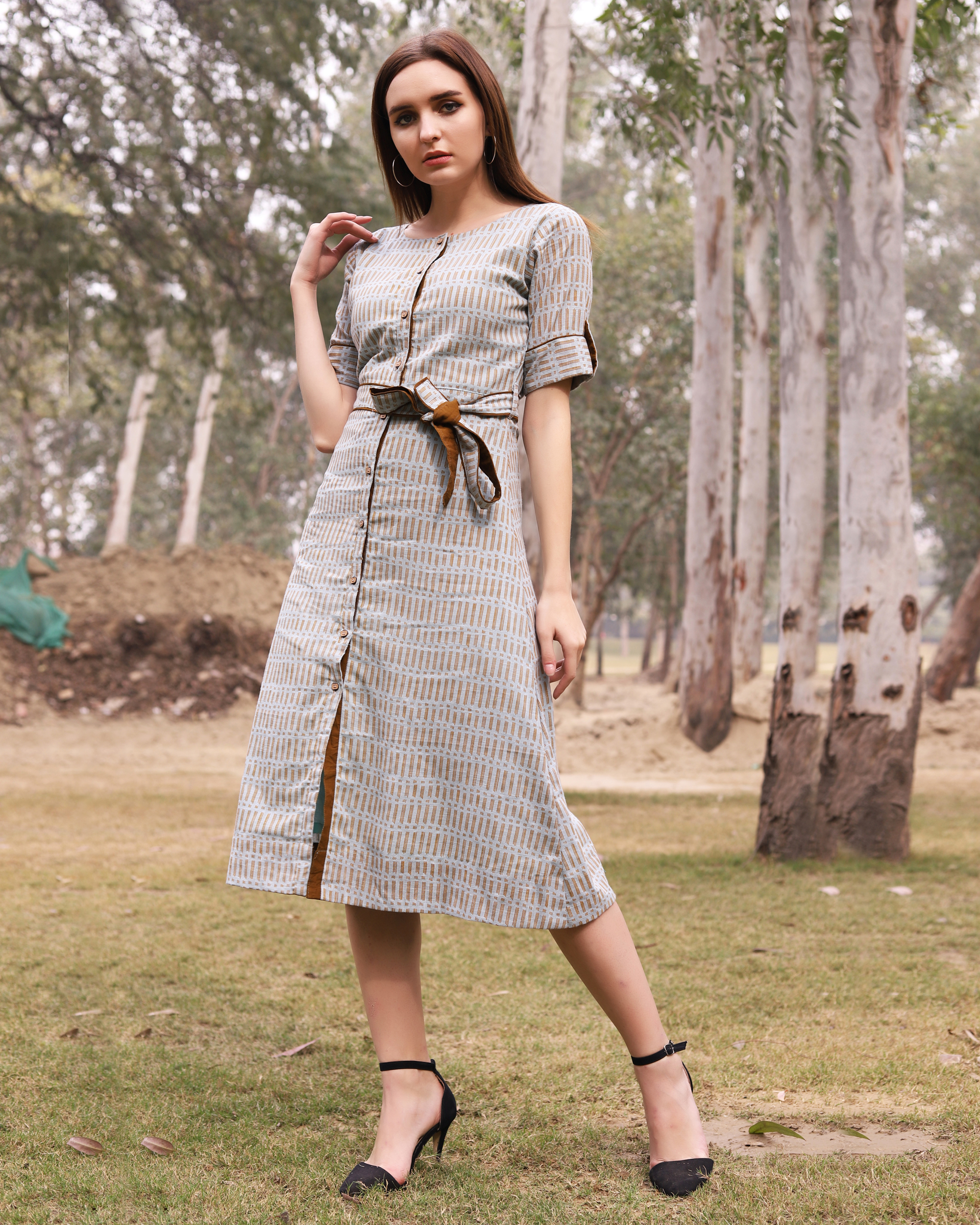 Grey and mustard printed midi dress