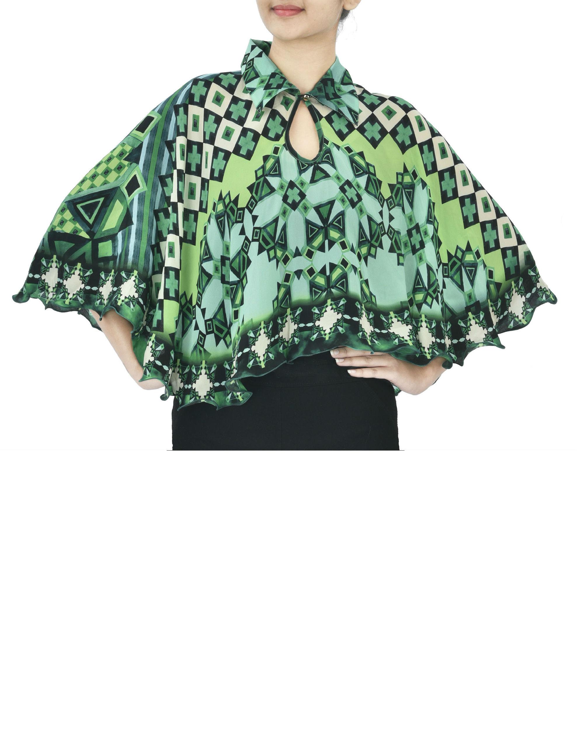 Green georgette cape