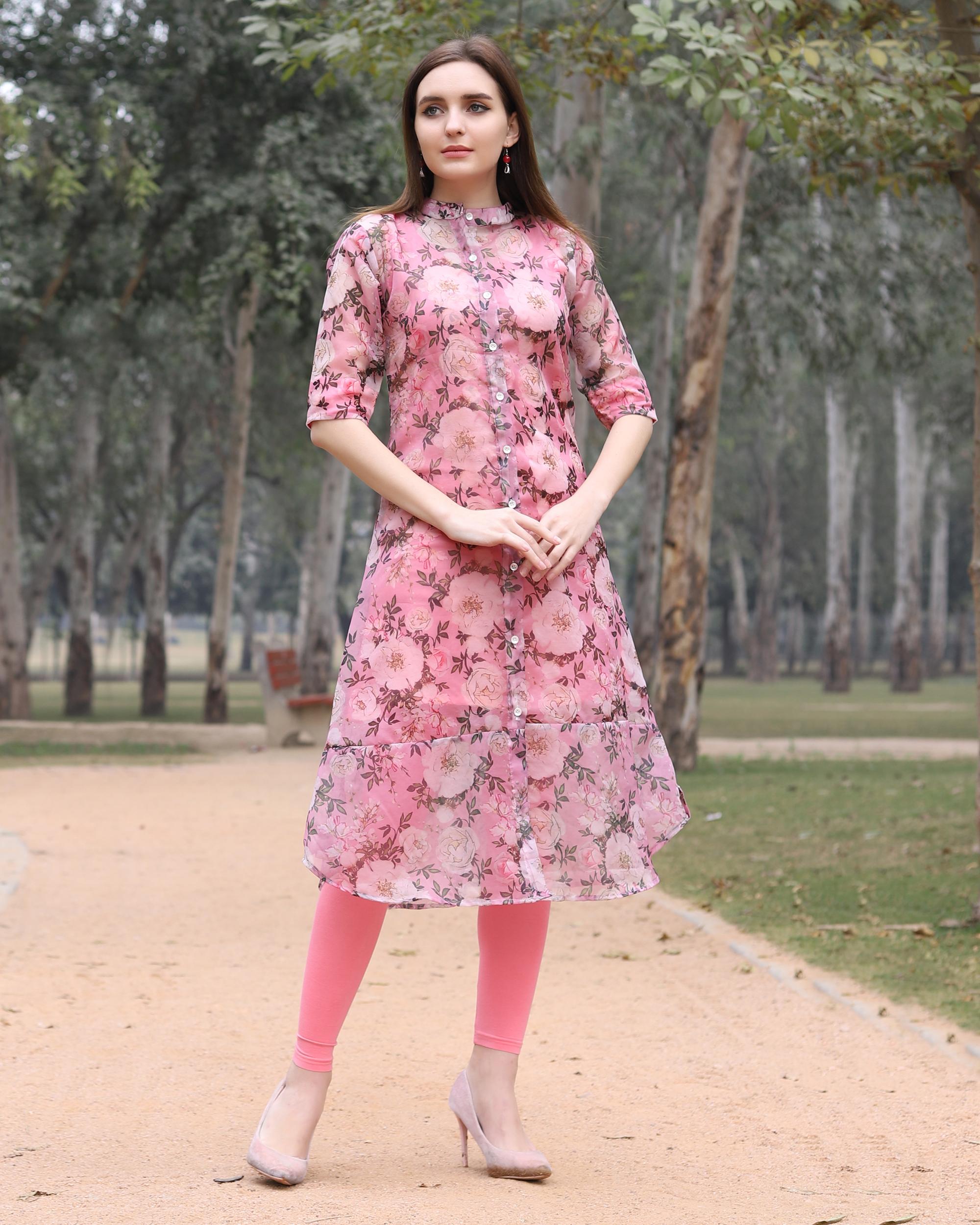 Floral organza pink kurta
