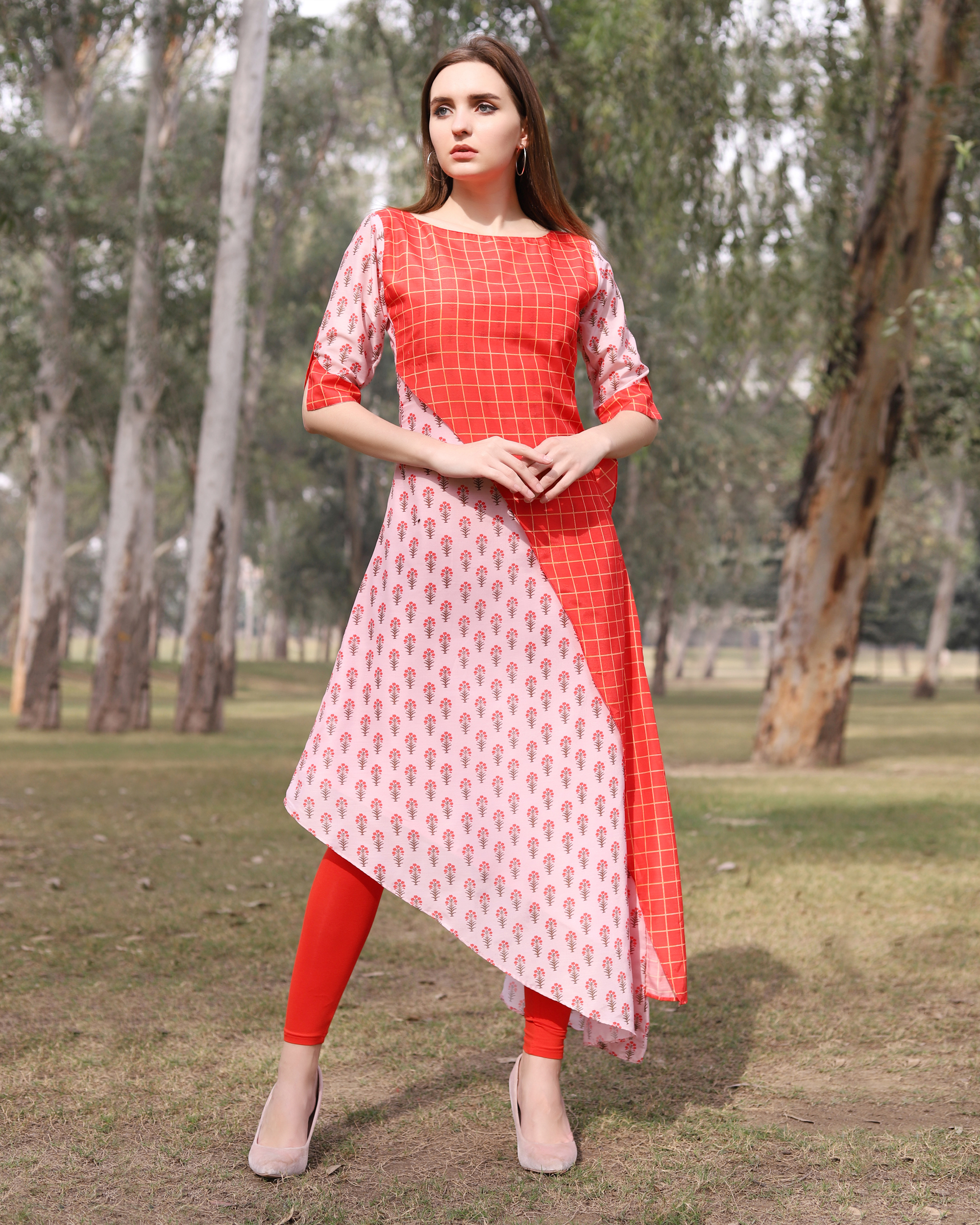 Asymmetrical pink and red half and half tunic