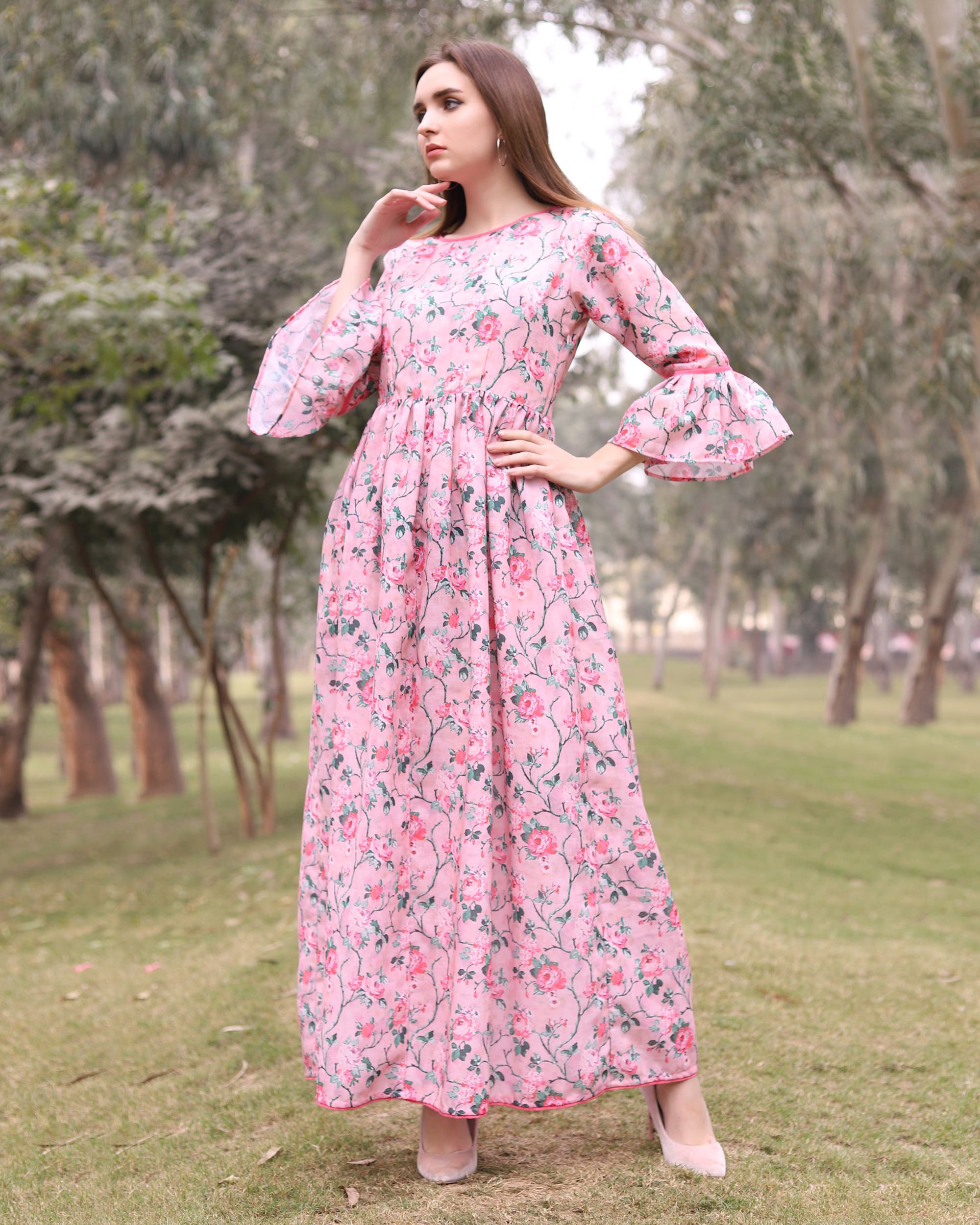 Floral pink gathered dress