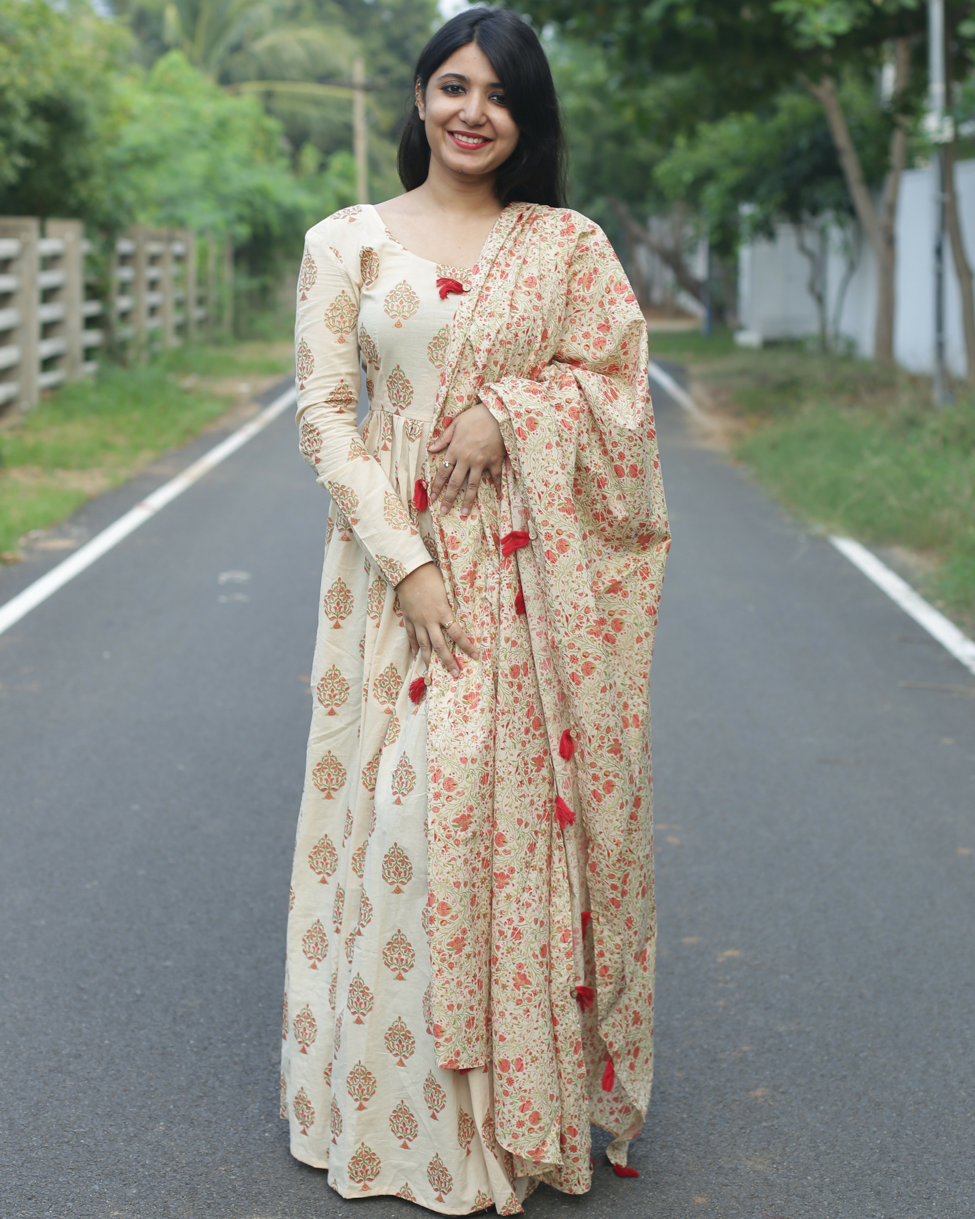 Block printed anarkali