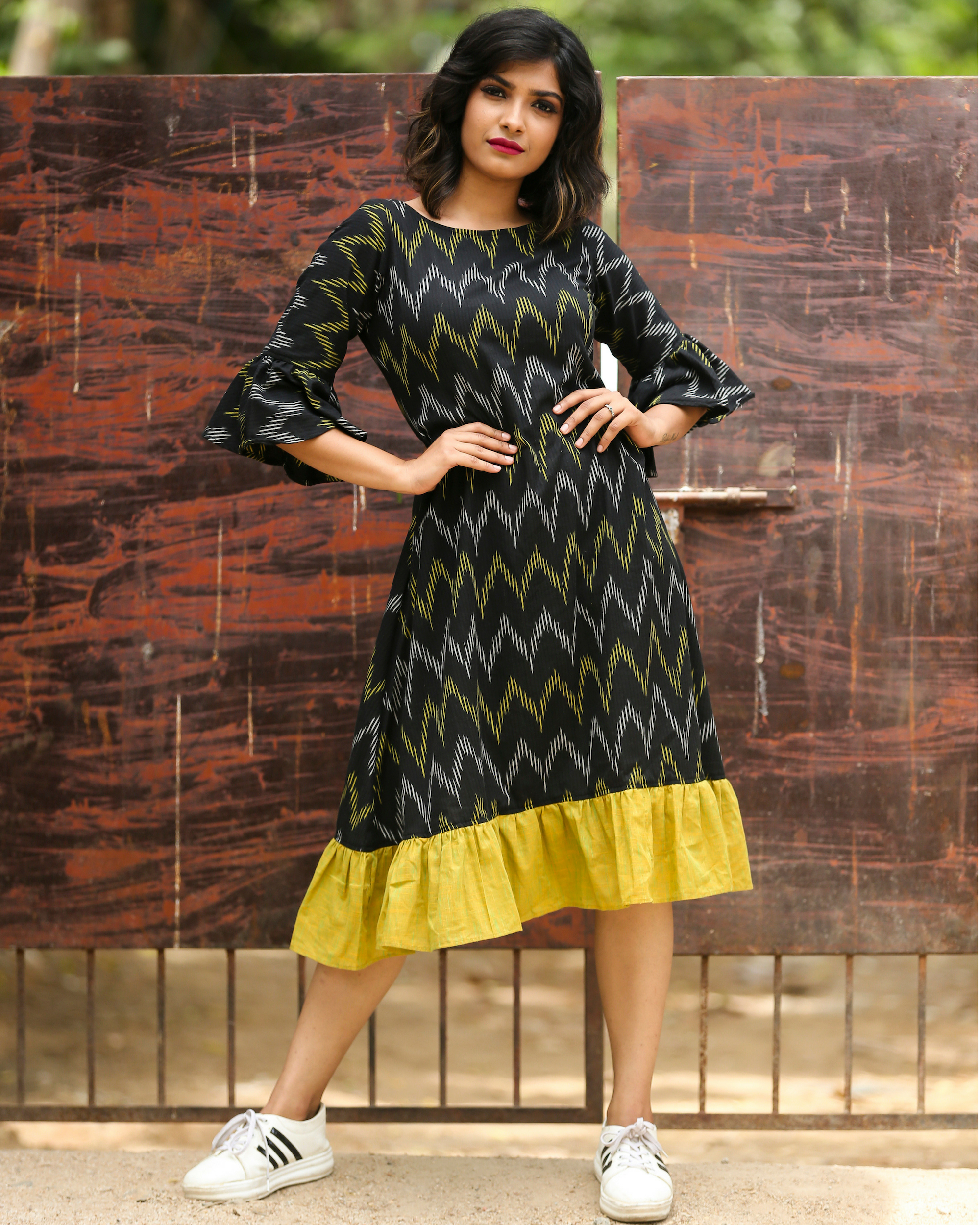 Black and green ikat dress