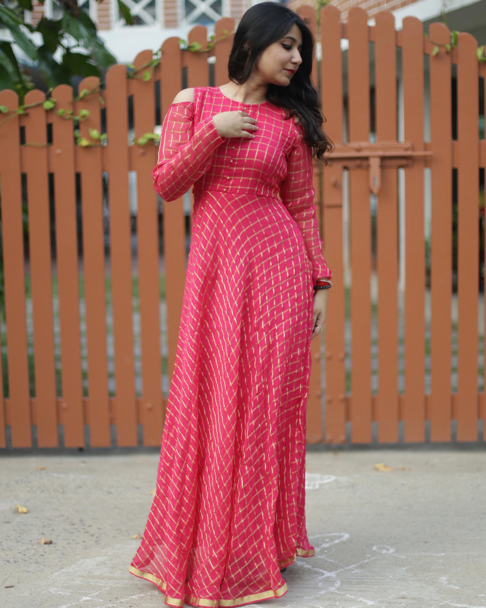Pink and gold zari dress