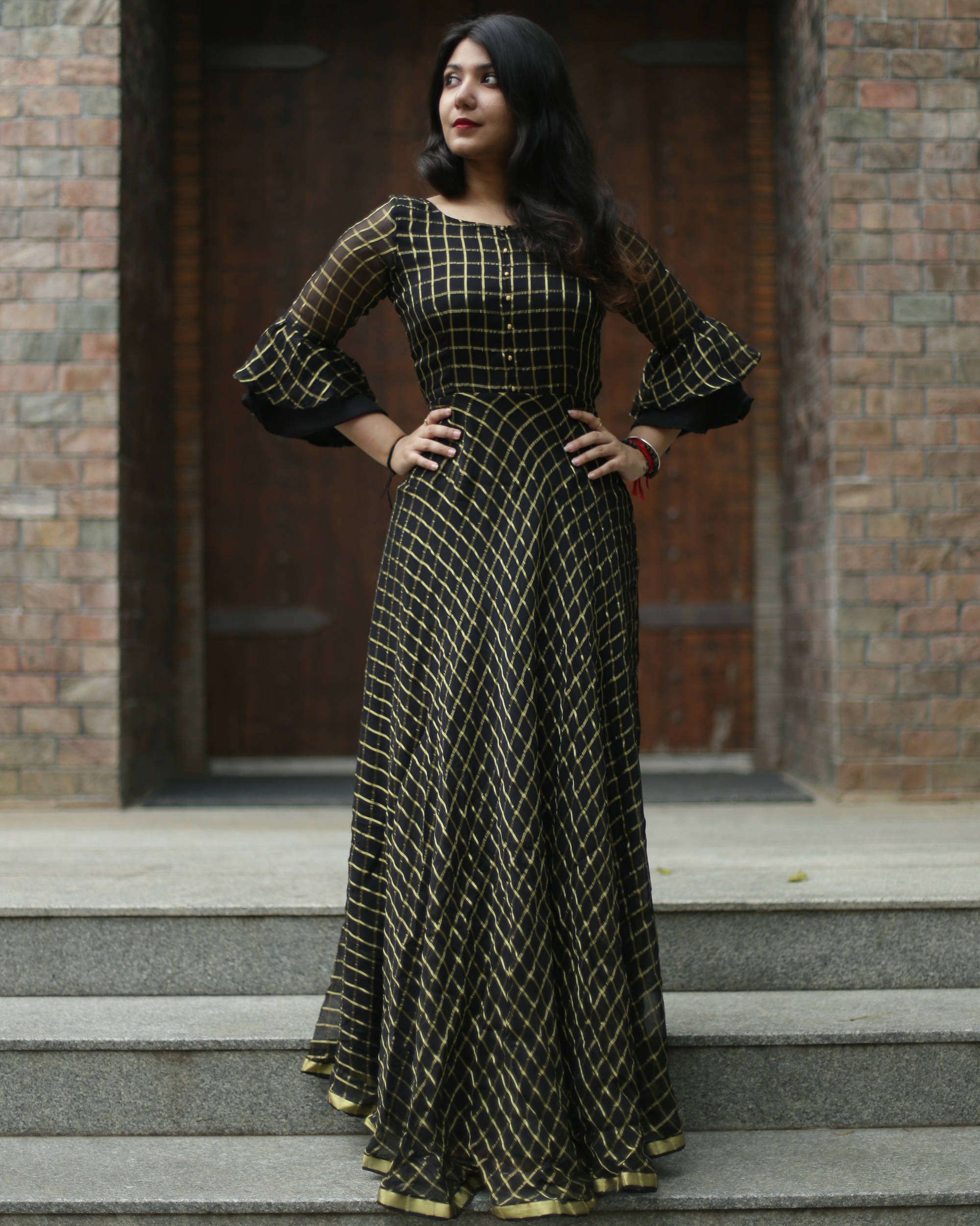 Black and gold zari dress