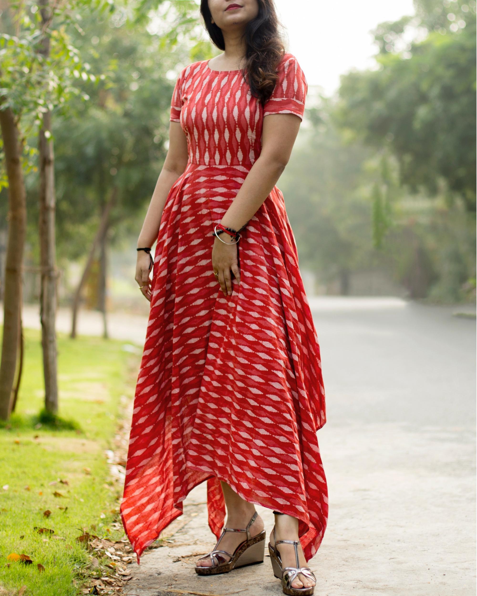 Red asymmetric dress