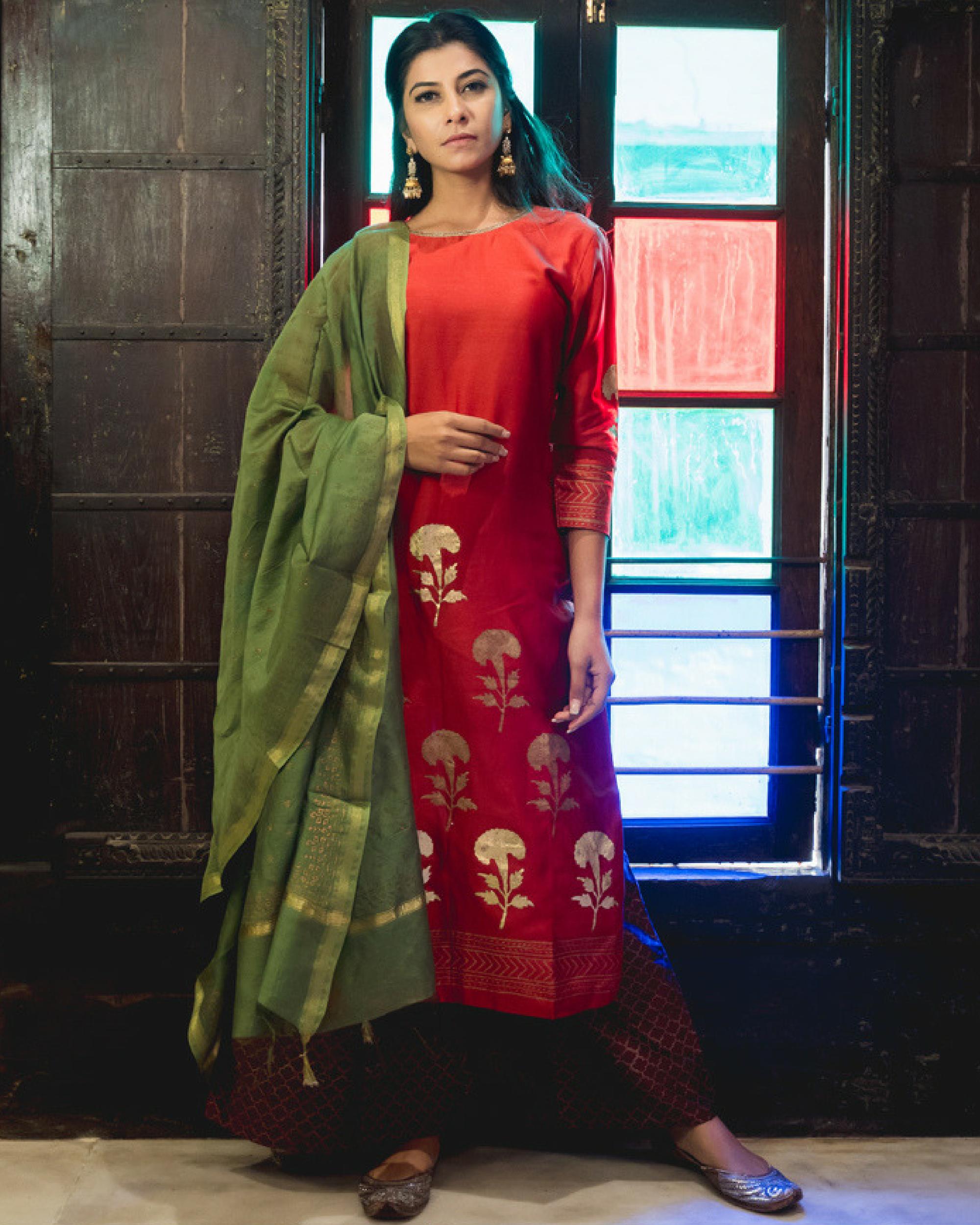 Meena kari printed set with dupatta