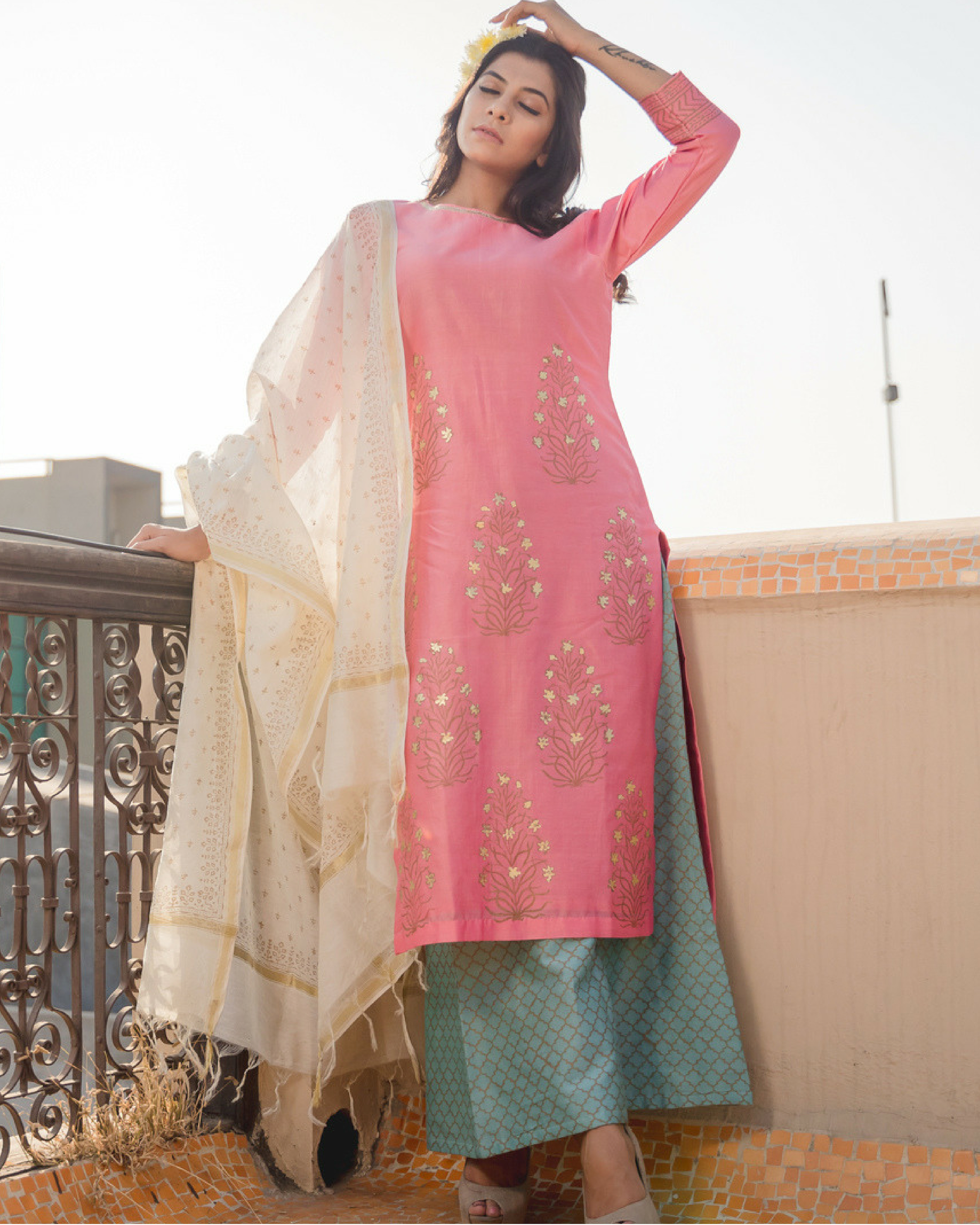 Chanderi mustaqil phool set with dupatta