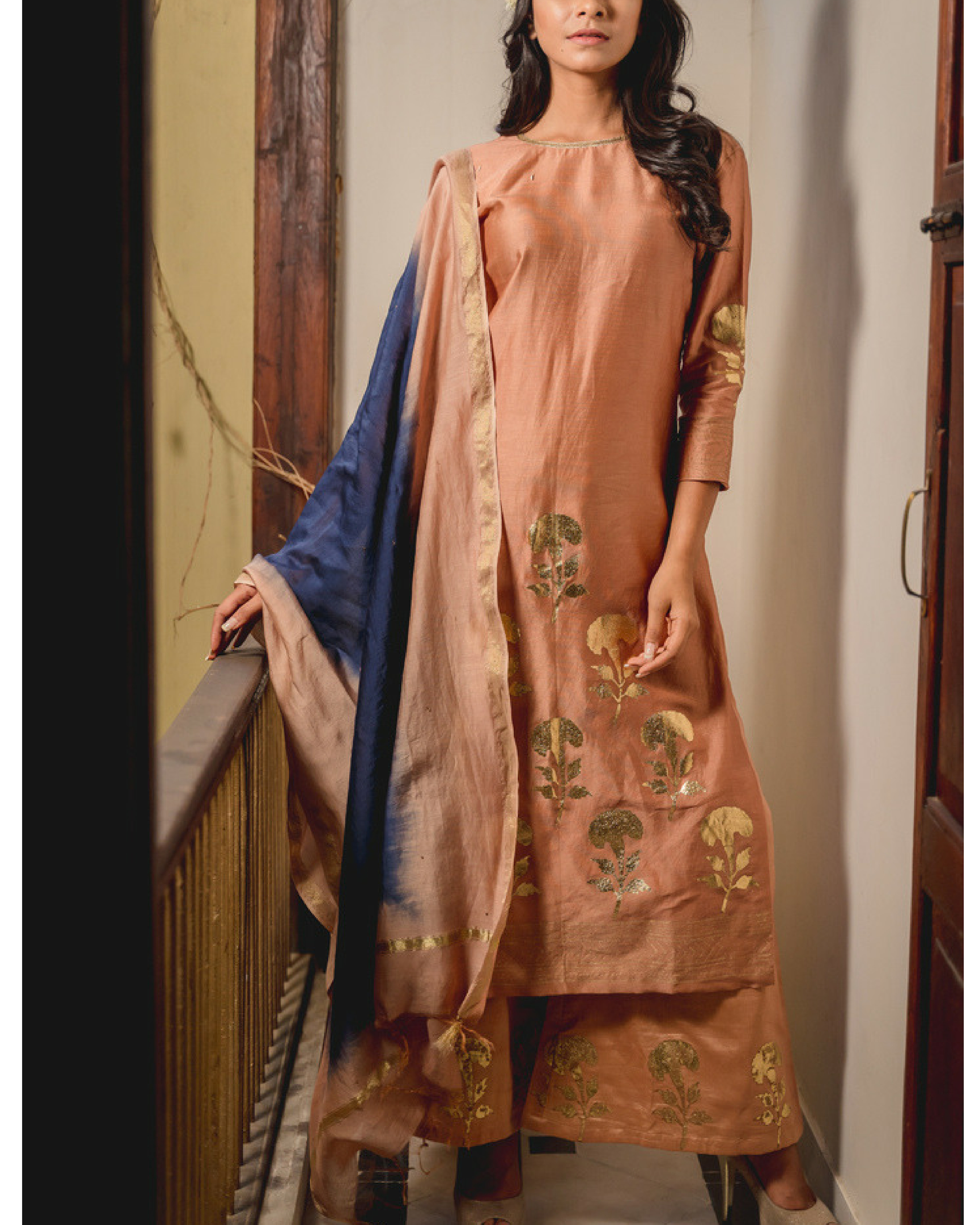 Peshwa printed kurta set with dupatta