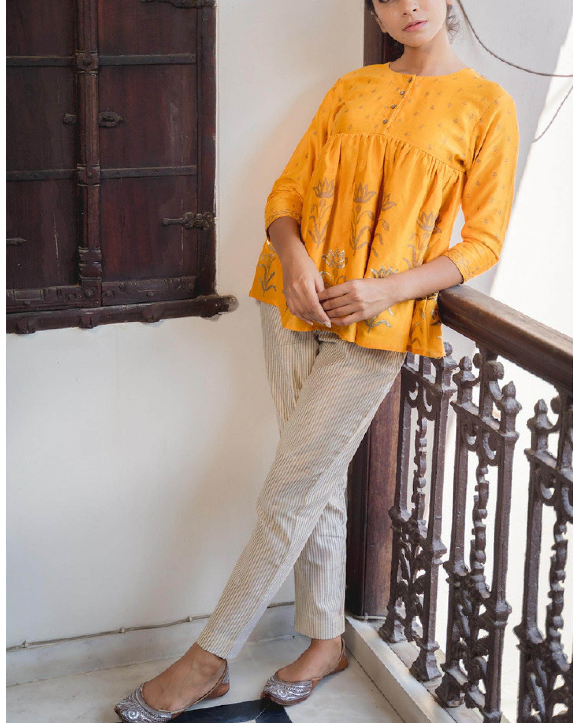 Peela chanderi top with pants