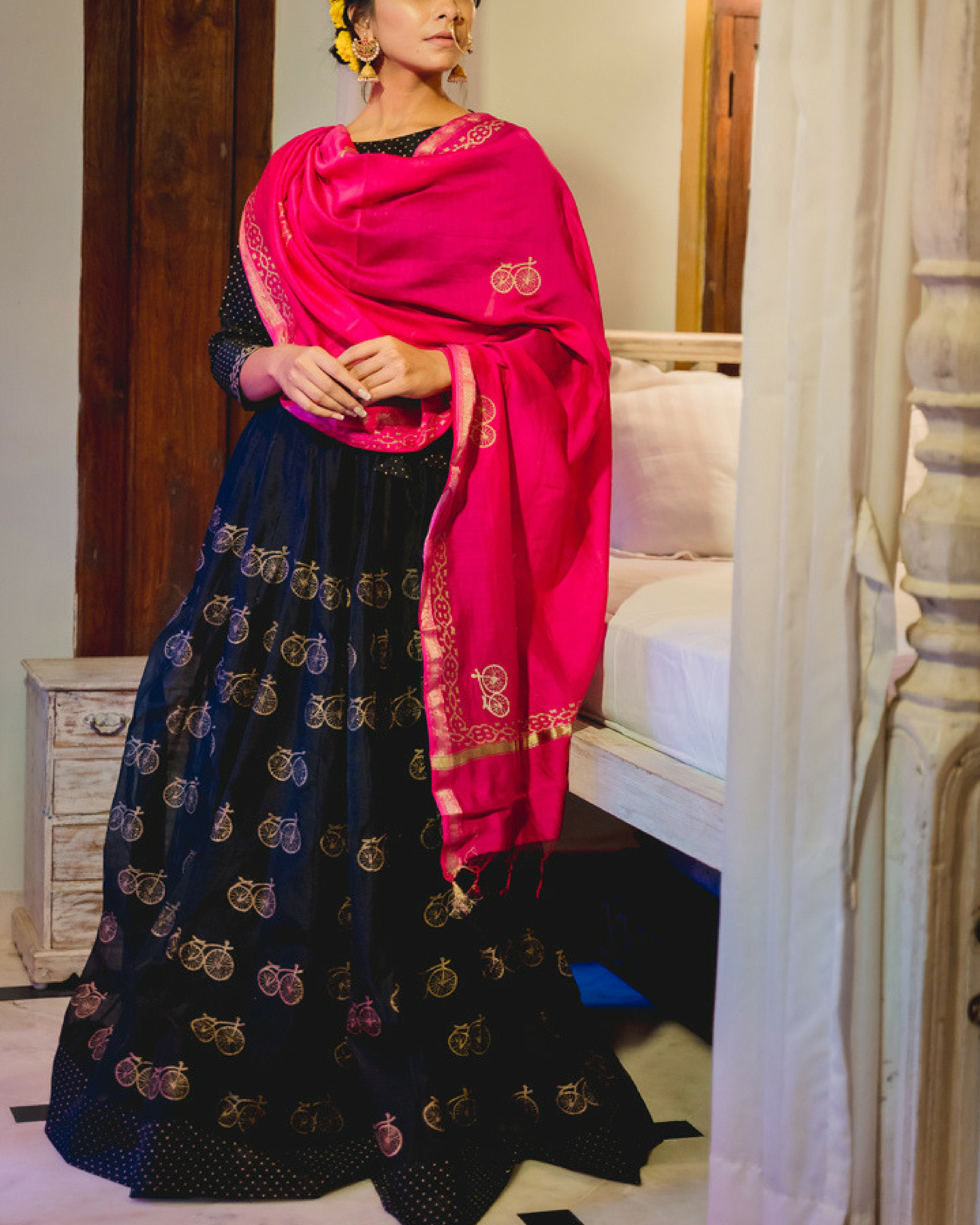 Black chanderi lehenga set with dupatta