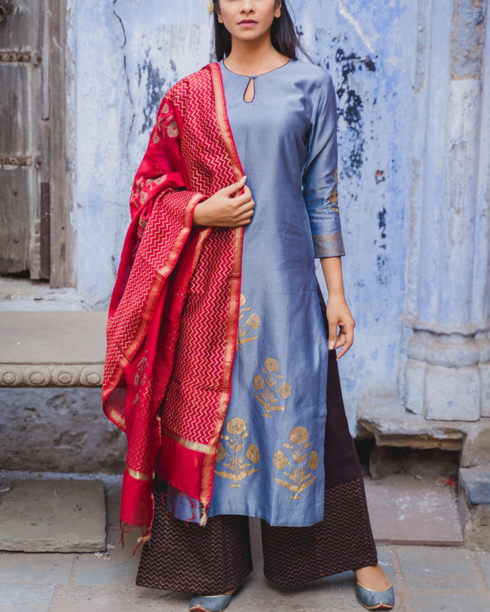 Nafisa cobalt blue kurta set with dupatta