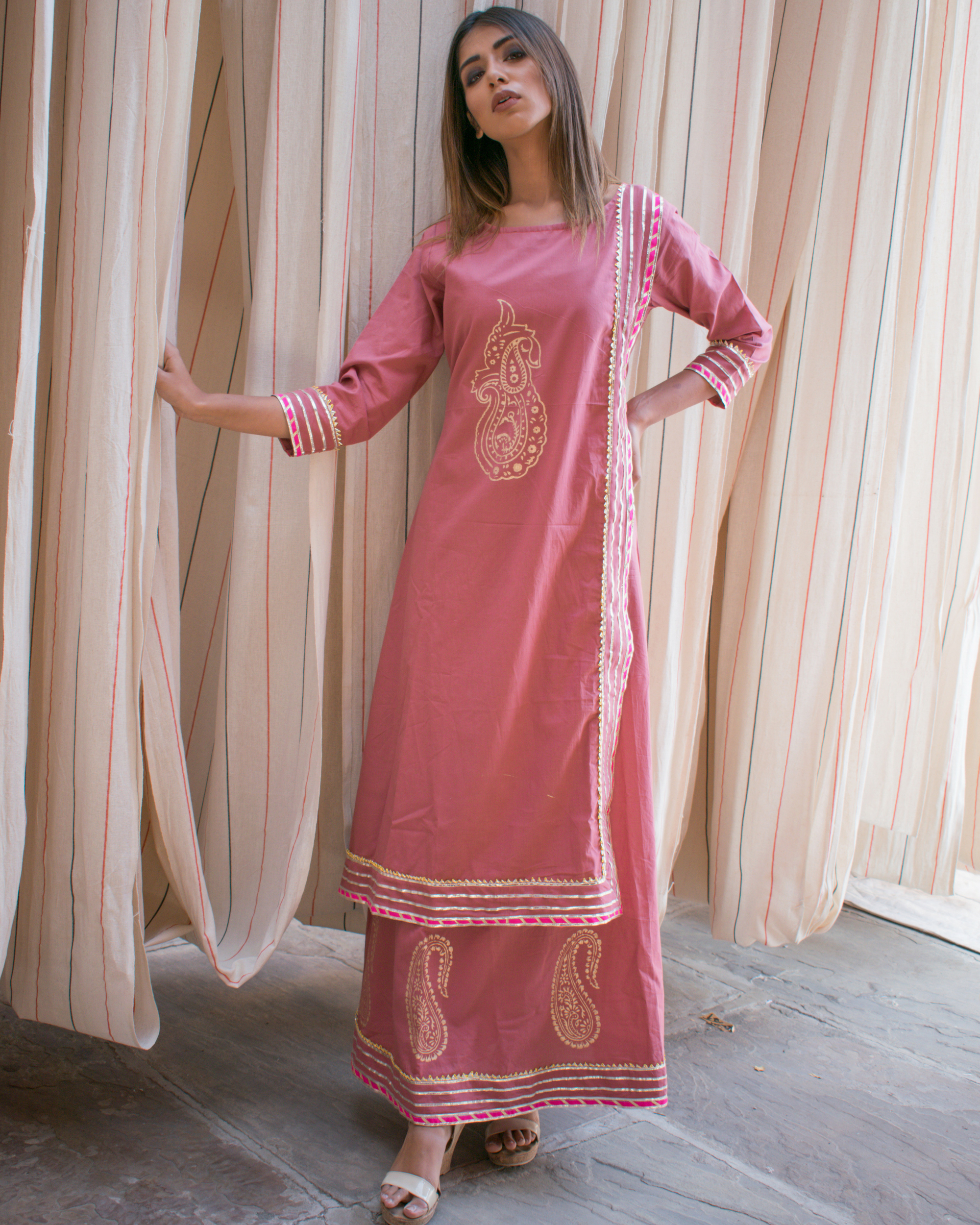 Pink block printed tunic