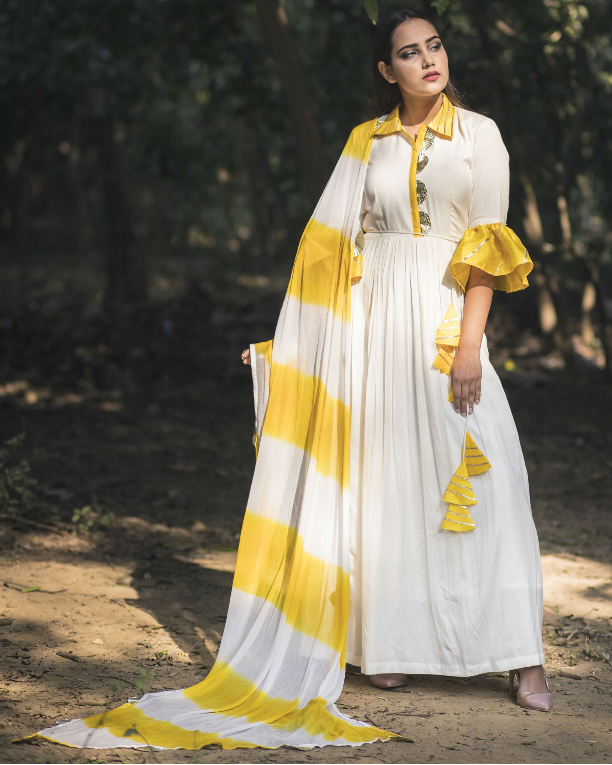 White and yellow collar anarkali with dupatta