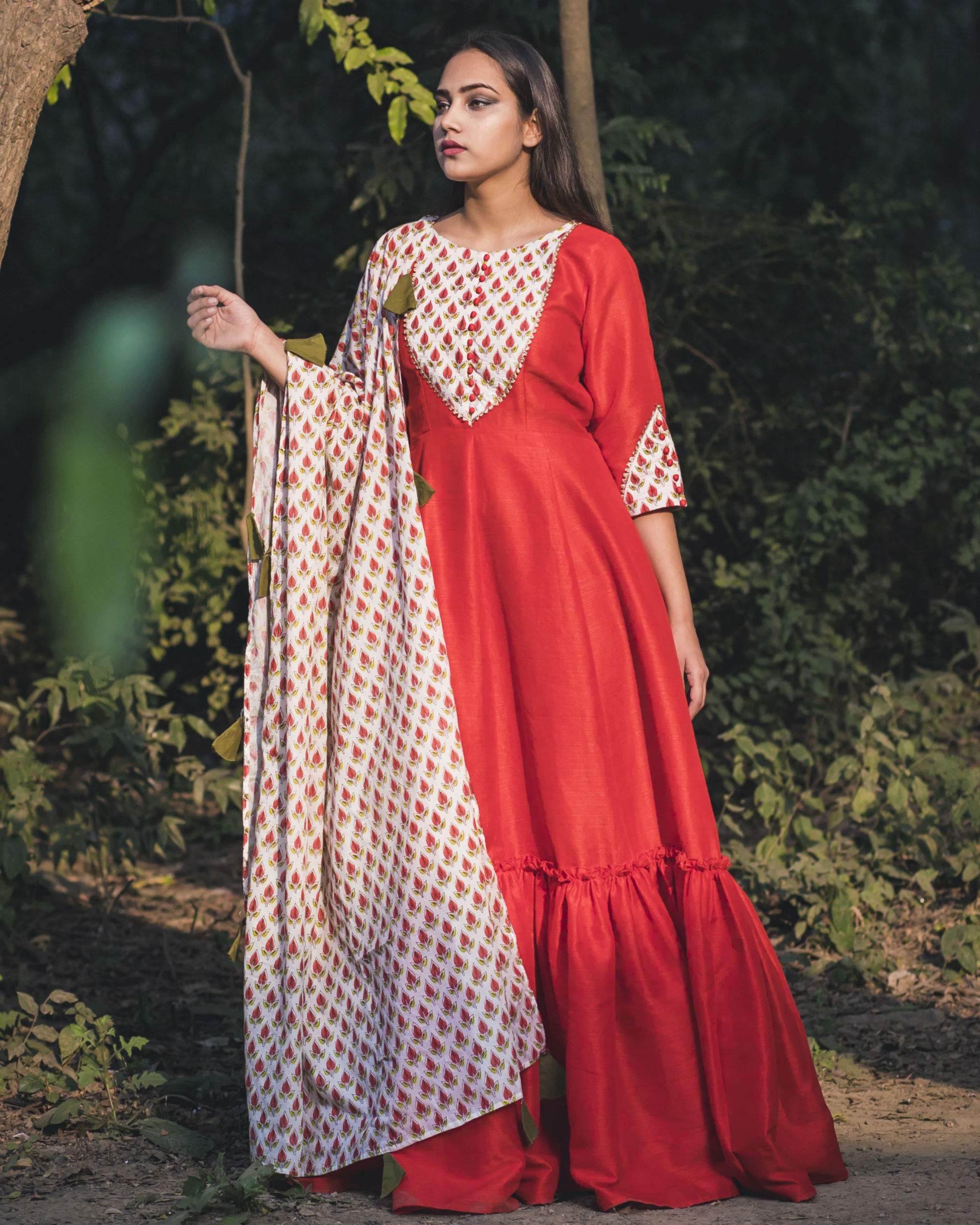 Red boota print anarkali with dupatta