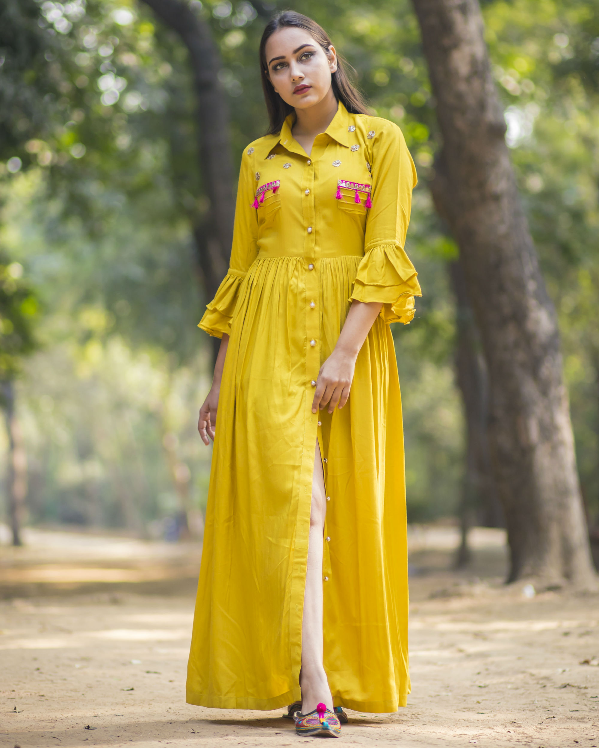 Mustard yellow shirt dress