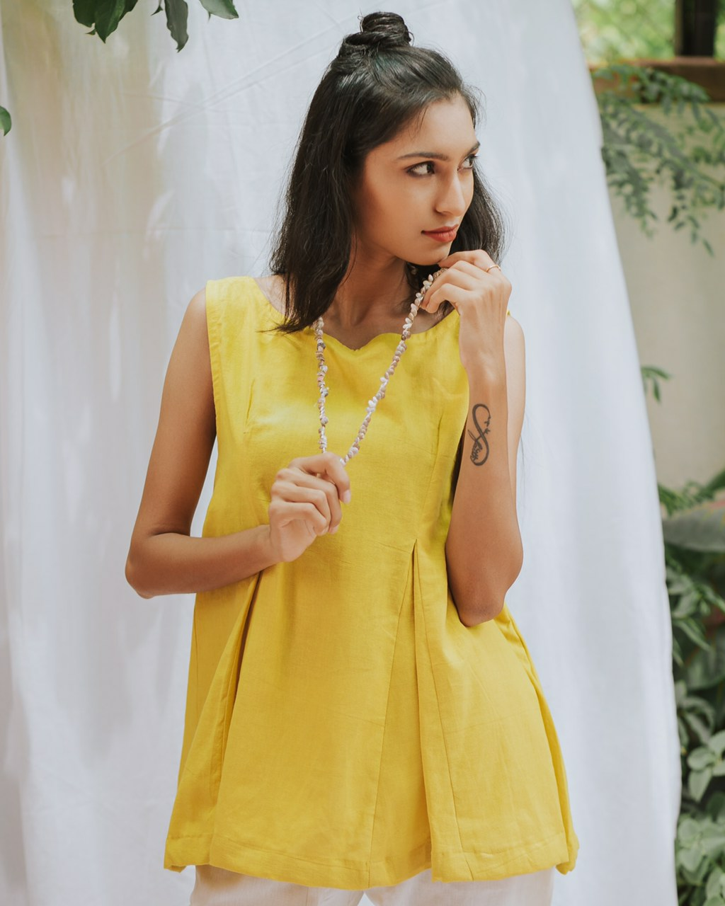 Pleated yellow top