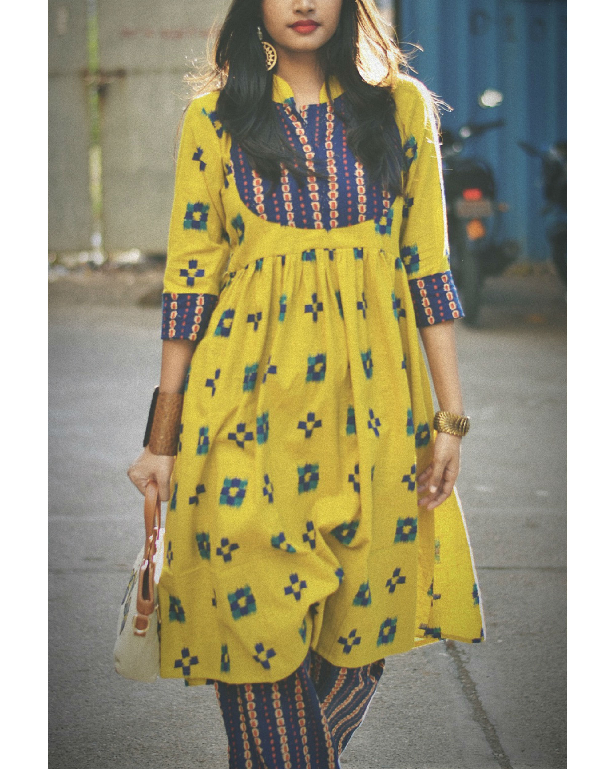 Yellow printed patch kurta