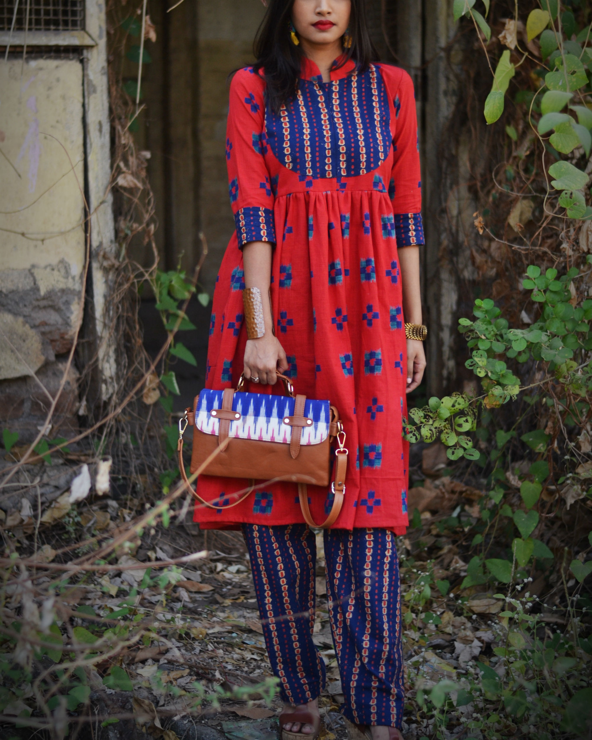 Red and blue patch kurta