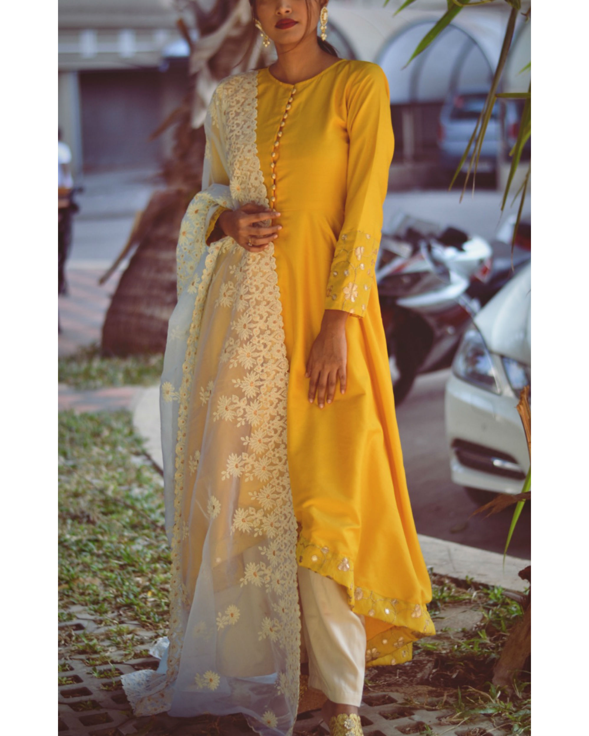 Yellow gold dress with dupatta